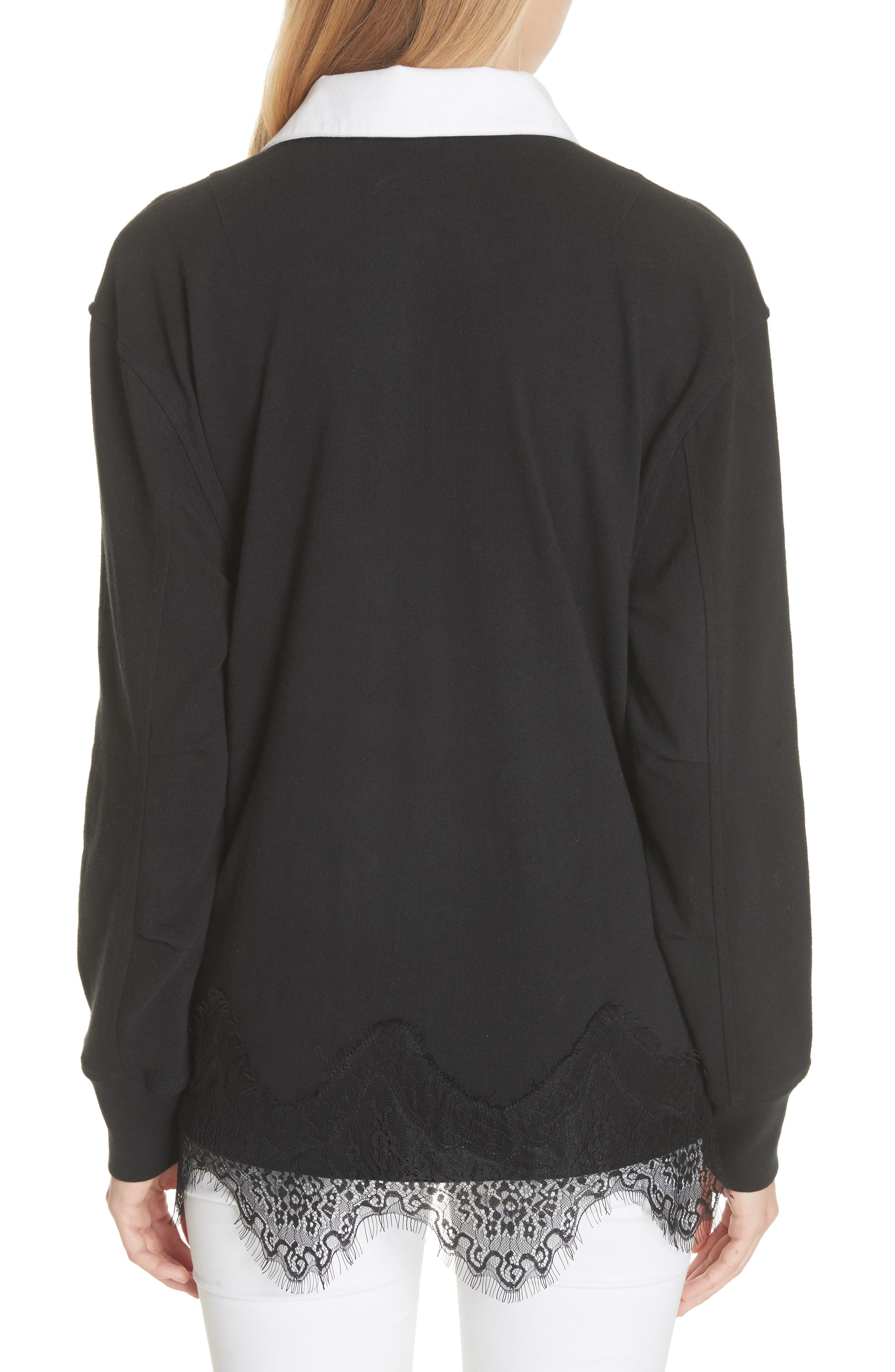 Lace Trim Rugby Sweater,                             Alternate thumbnail 2, color,                             Black