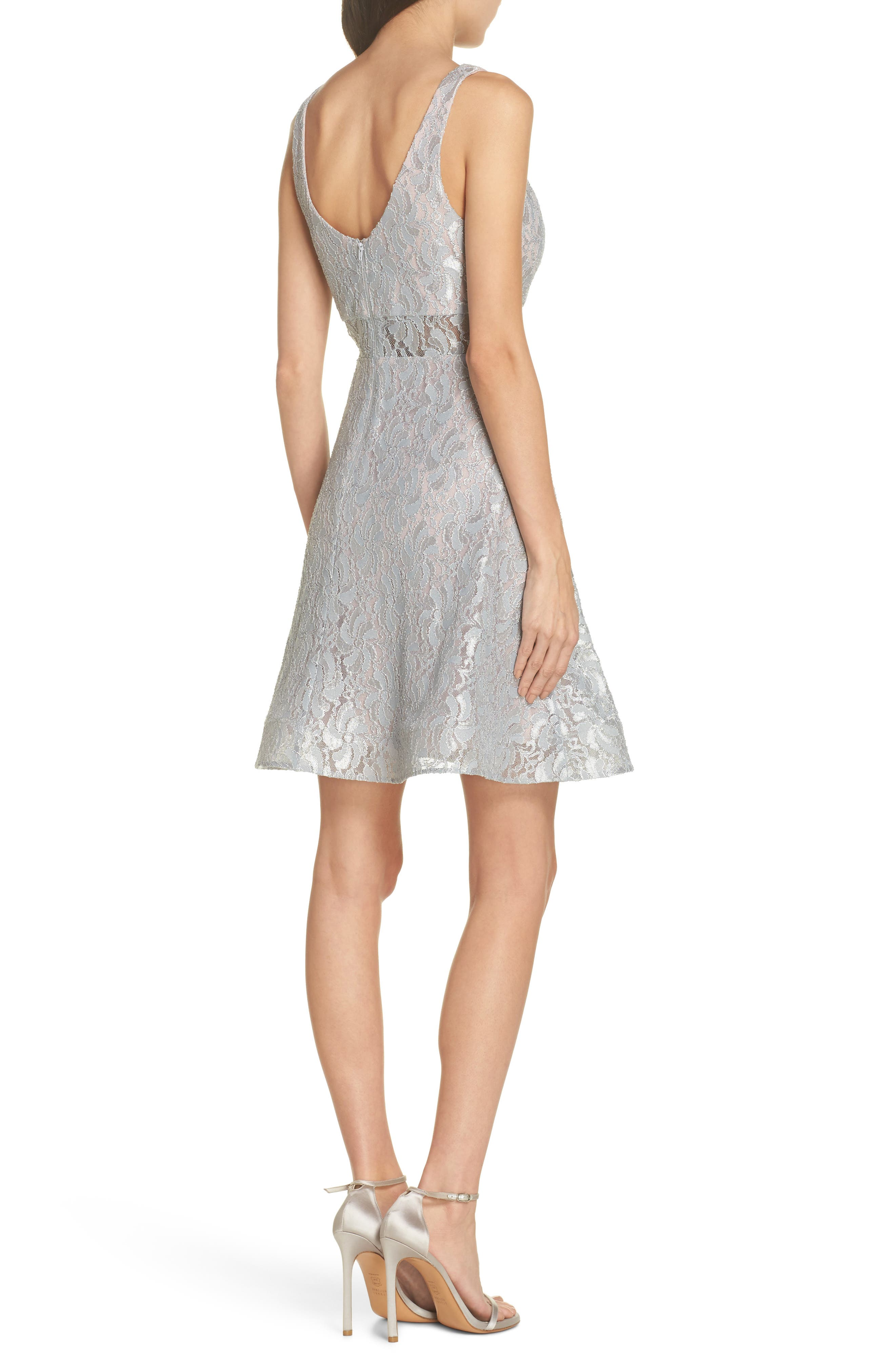 Illusion Waist Lace Fit & Flare Dress,                             Alternate thumbnail 2, color,                             Silver