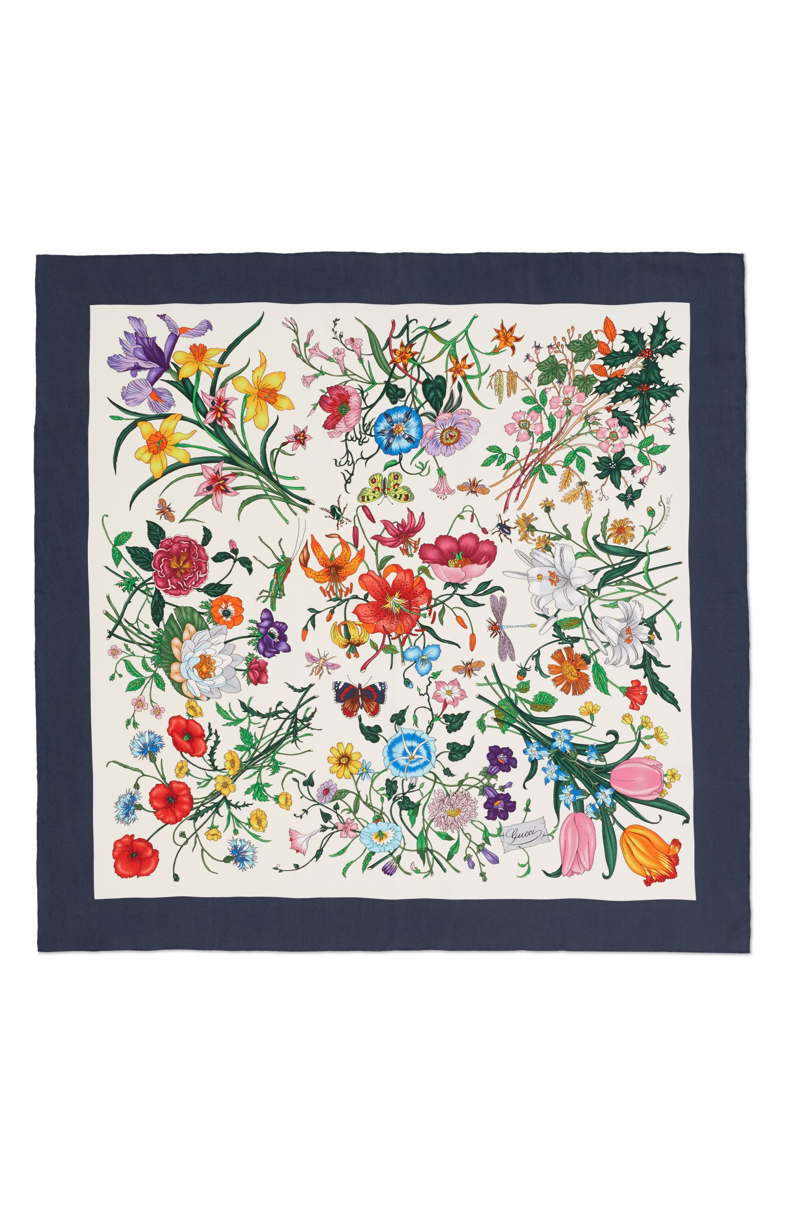 Floral Foulard Silk Twill Scarf,                             Main thumbnail 1, color,                             Ivory/ Blue