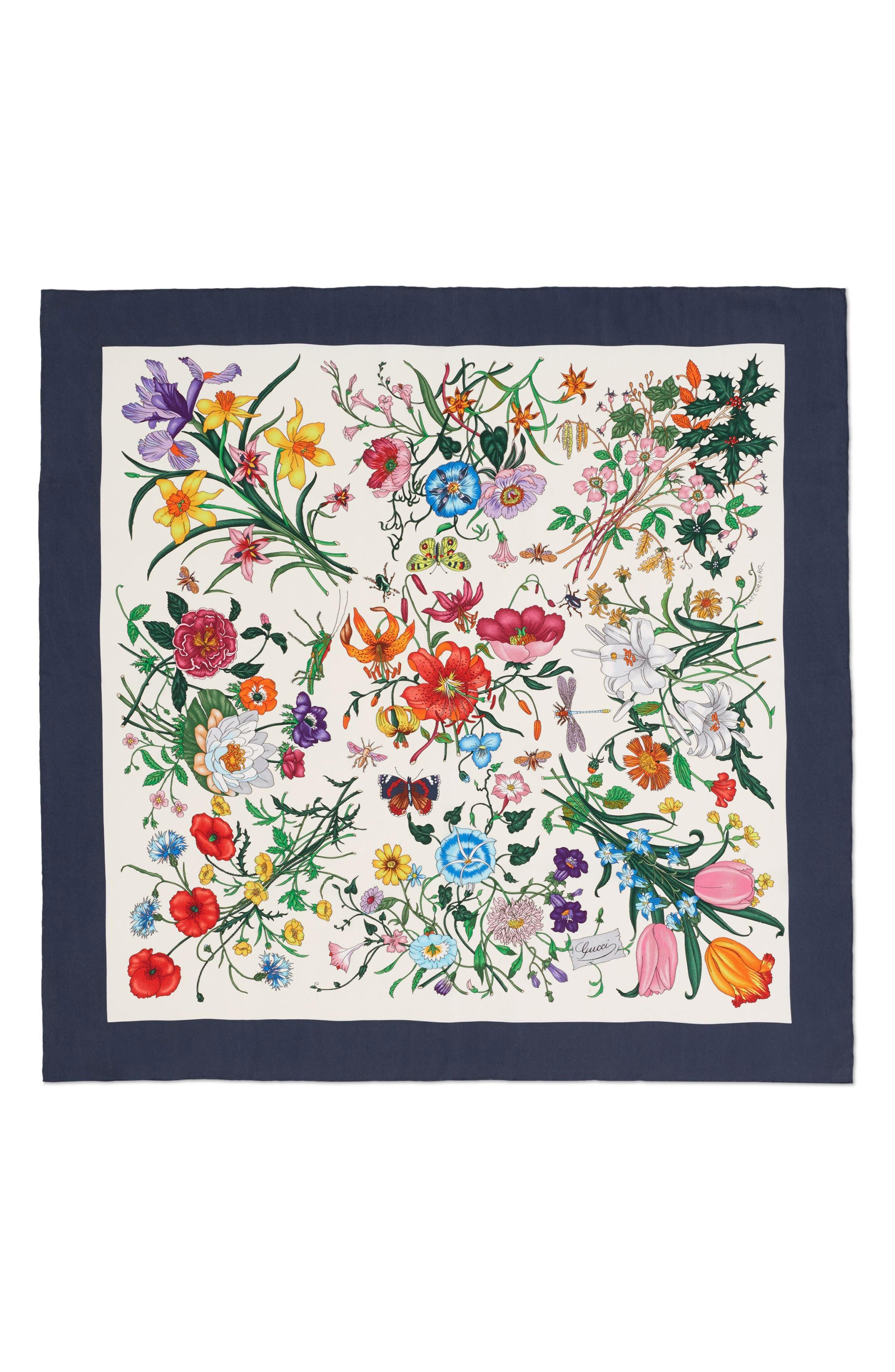 Floral Foulard Silk Twill Scarf,                         Main,                         color, Ivory/ Blue