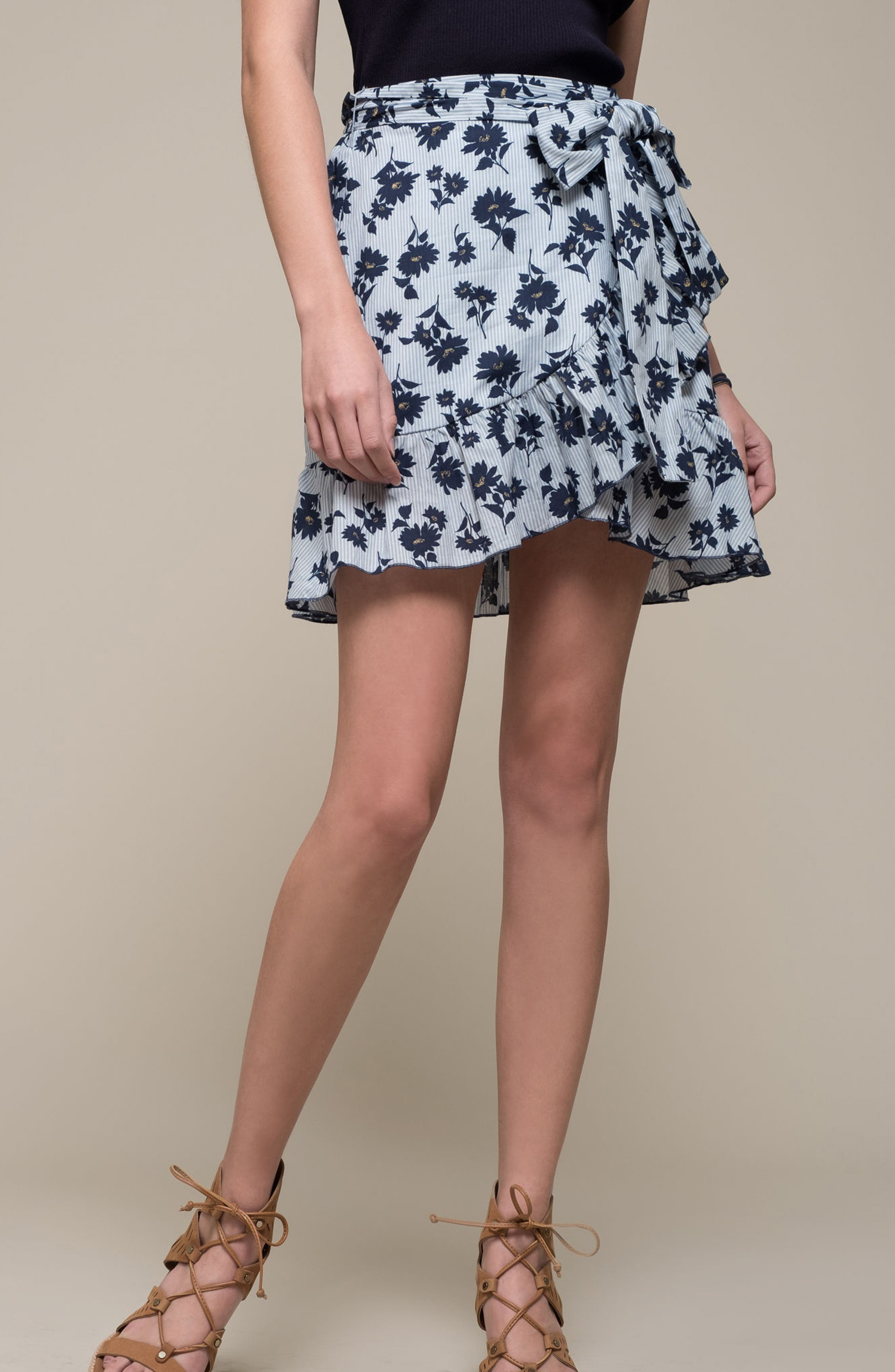 Floral Ruffle Wrap Skirt,                             Alternate thumbnail 2, color,                             Sky Stripe