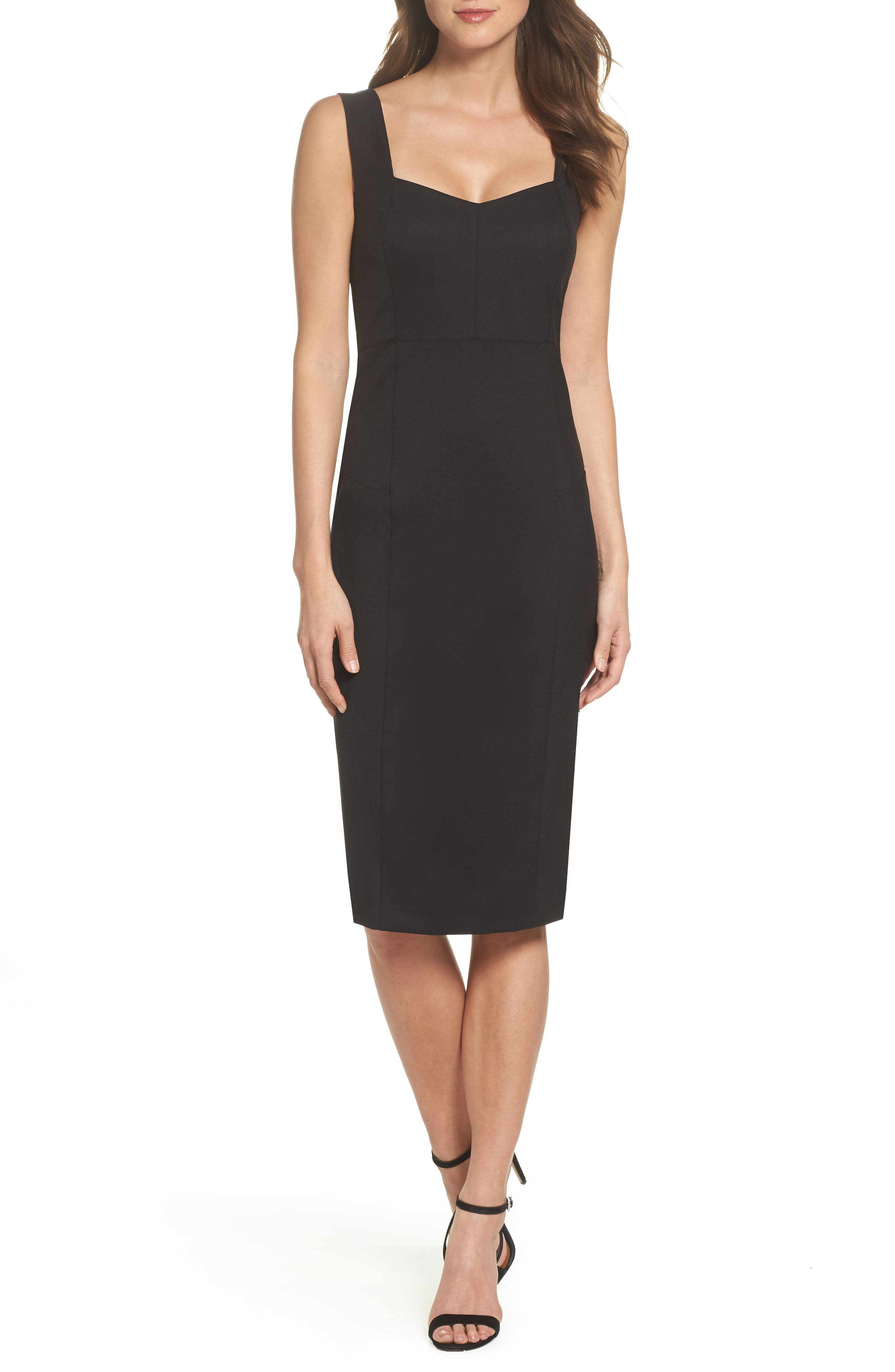 Mirren Midi Body-Con Dress,                             Main thumbnail 1, color,                             Black