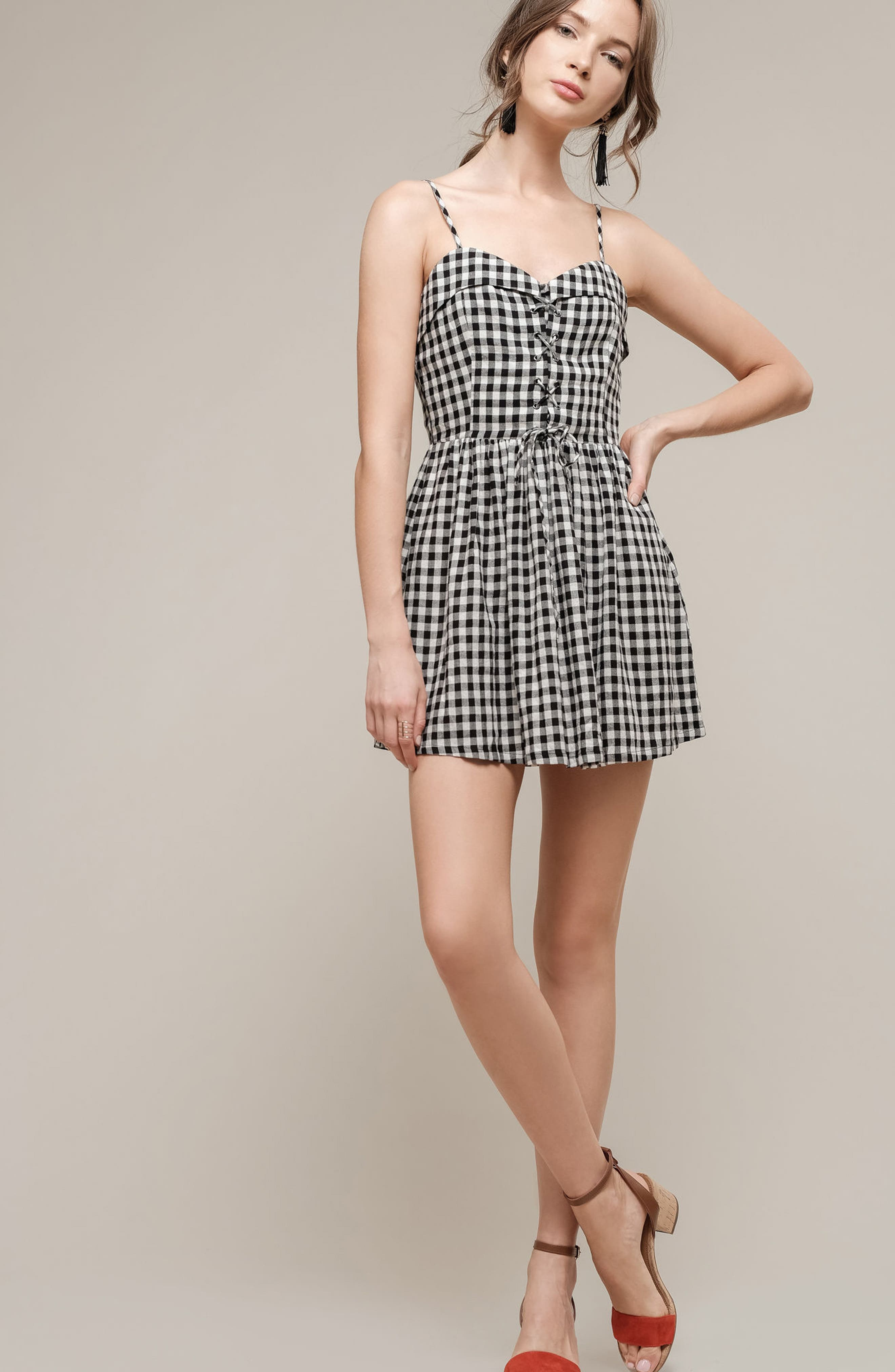 Lace-Up Gingham Dress,                             Alternate thumbnail 2, color,                             Black Gingham