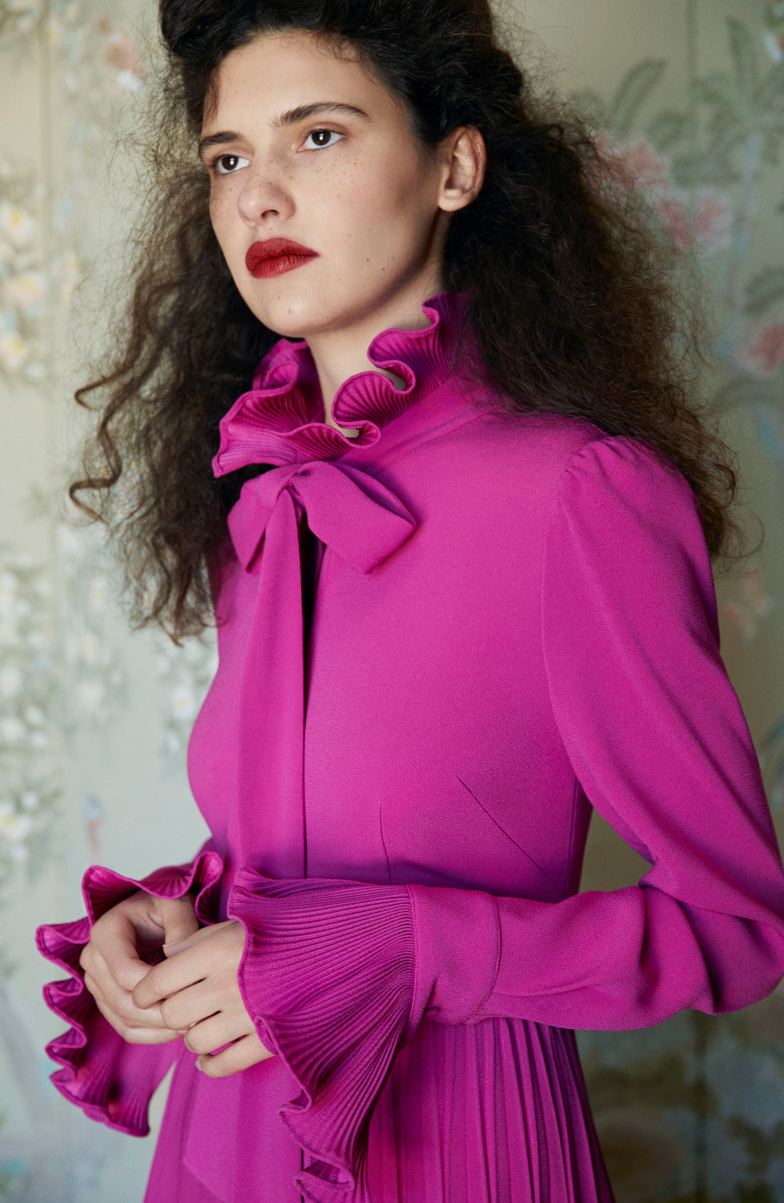 Ruffle & Pleated Midi Dress,                             Alternate thumbnail 2, color,                             Magenta