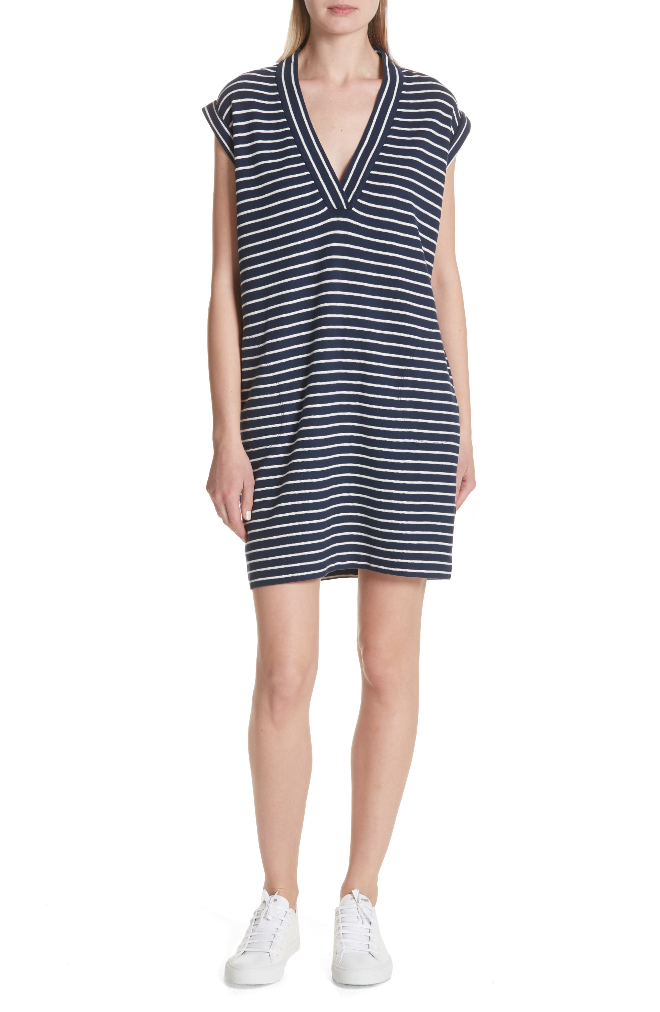 Stripe Shift Dress,                             Main thumbnail 1, color,                             Navy/ Chalk Stripe