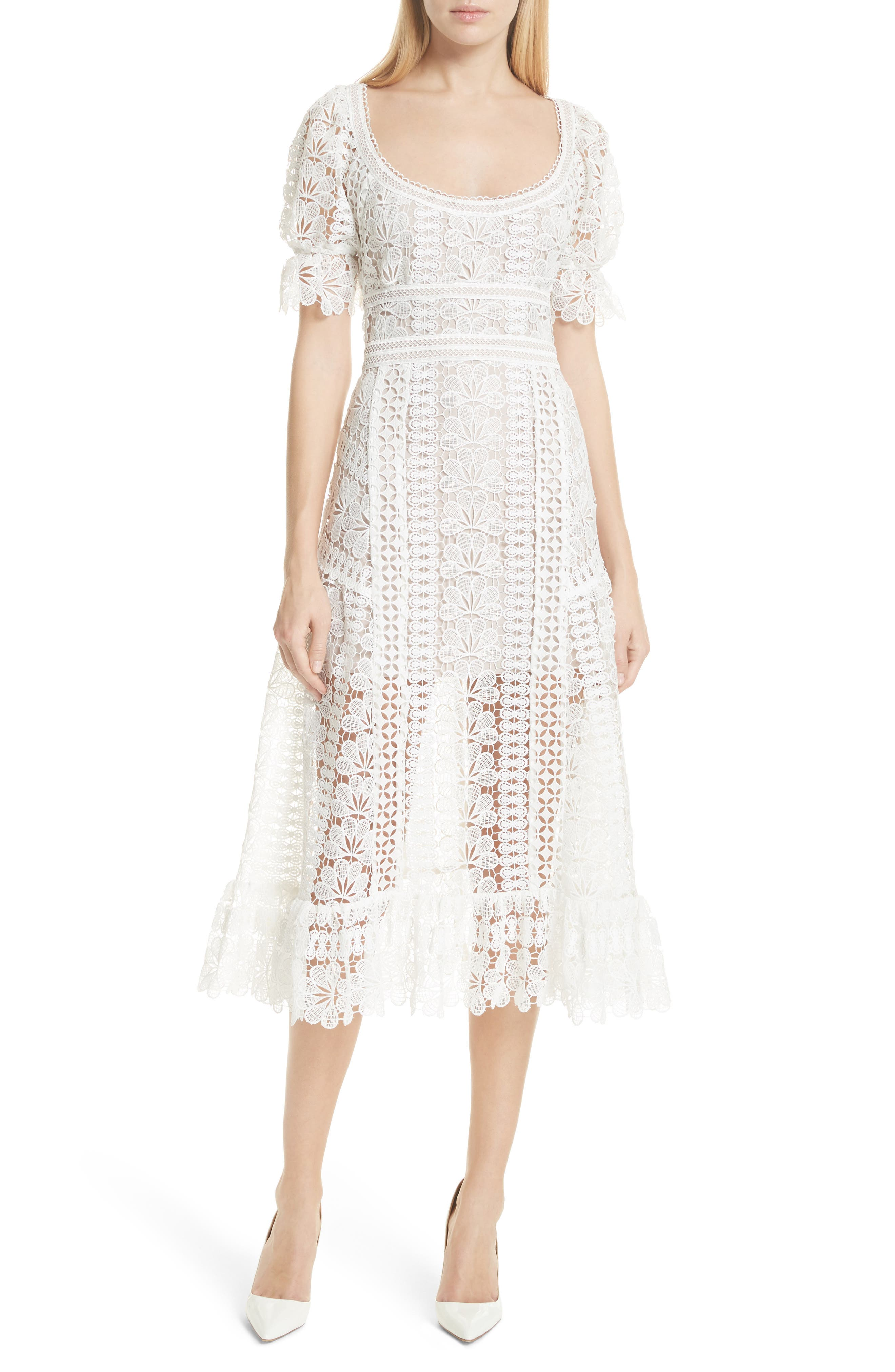 Floral Guipure Lace Midi Dress,                             Main thumbnail 1, color,                             White