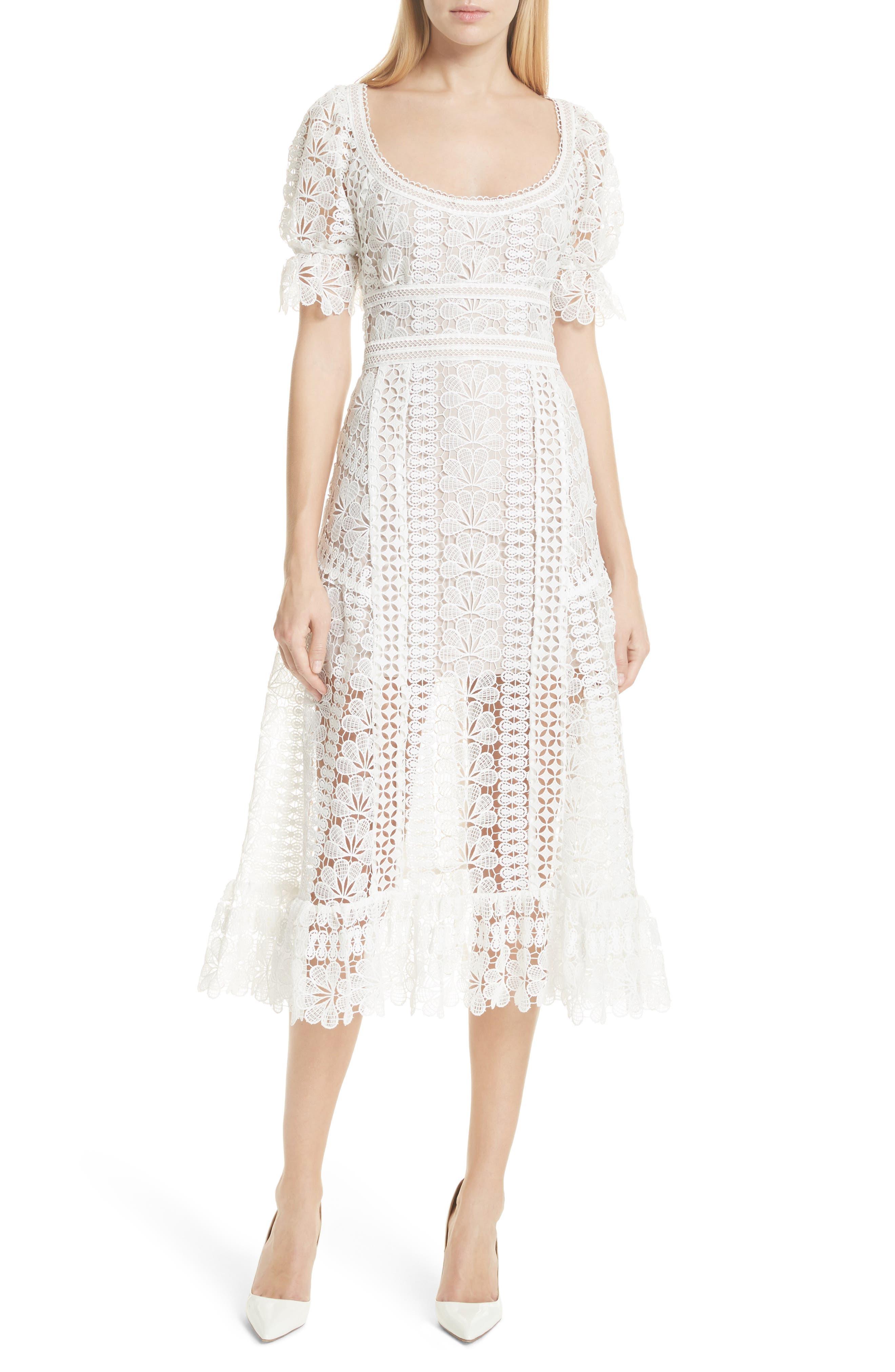 Floral Guipure Lace Midi Dress,                         Main,                         color, White