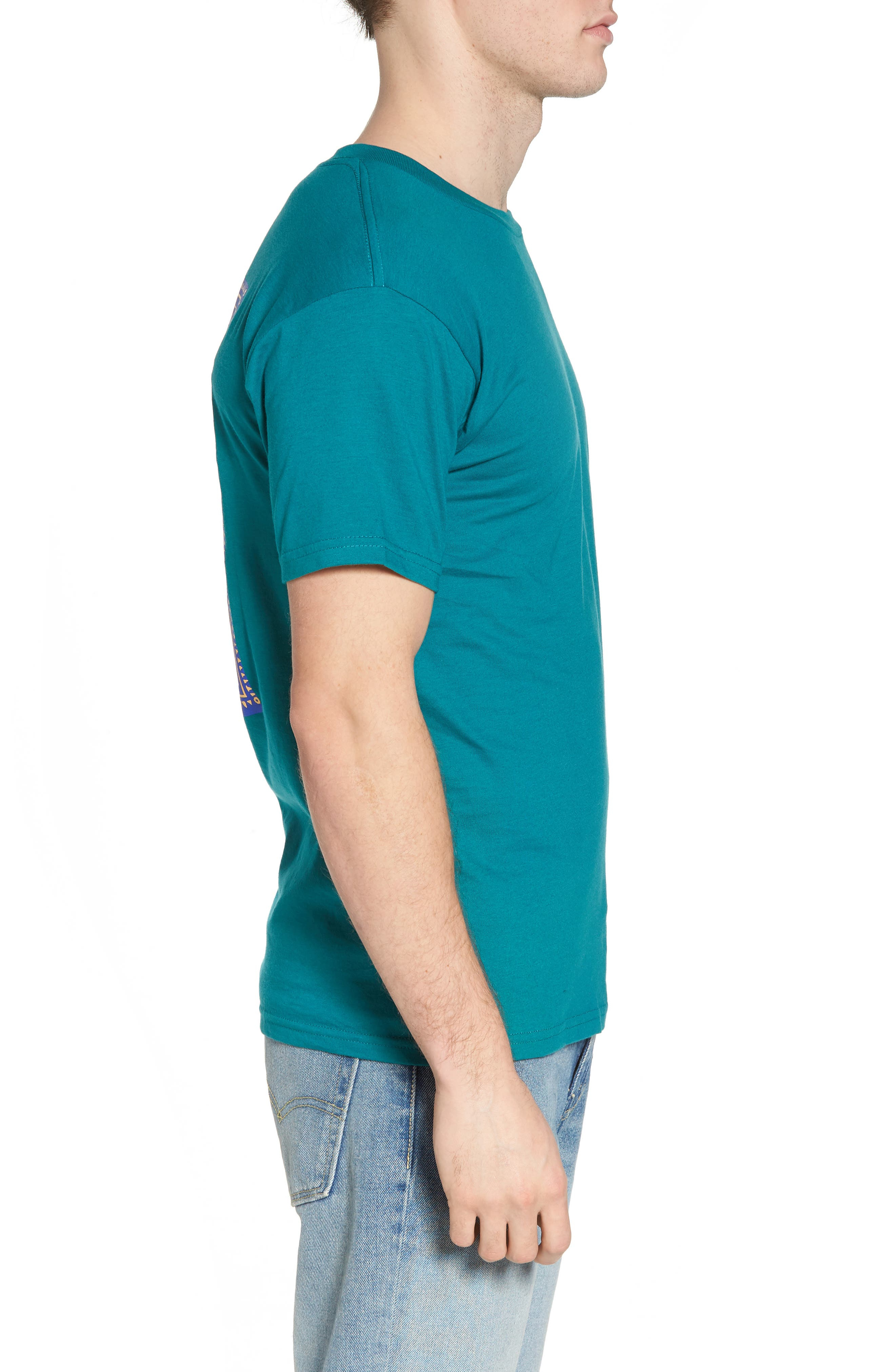 Flashback Graphic T-Shirt,                             Alternate thumbnail 3, color,                             Teal