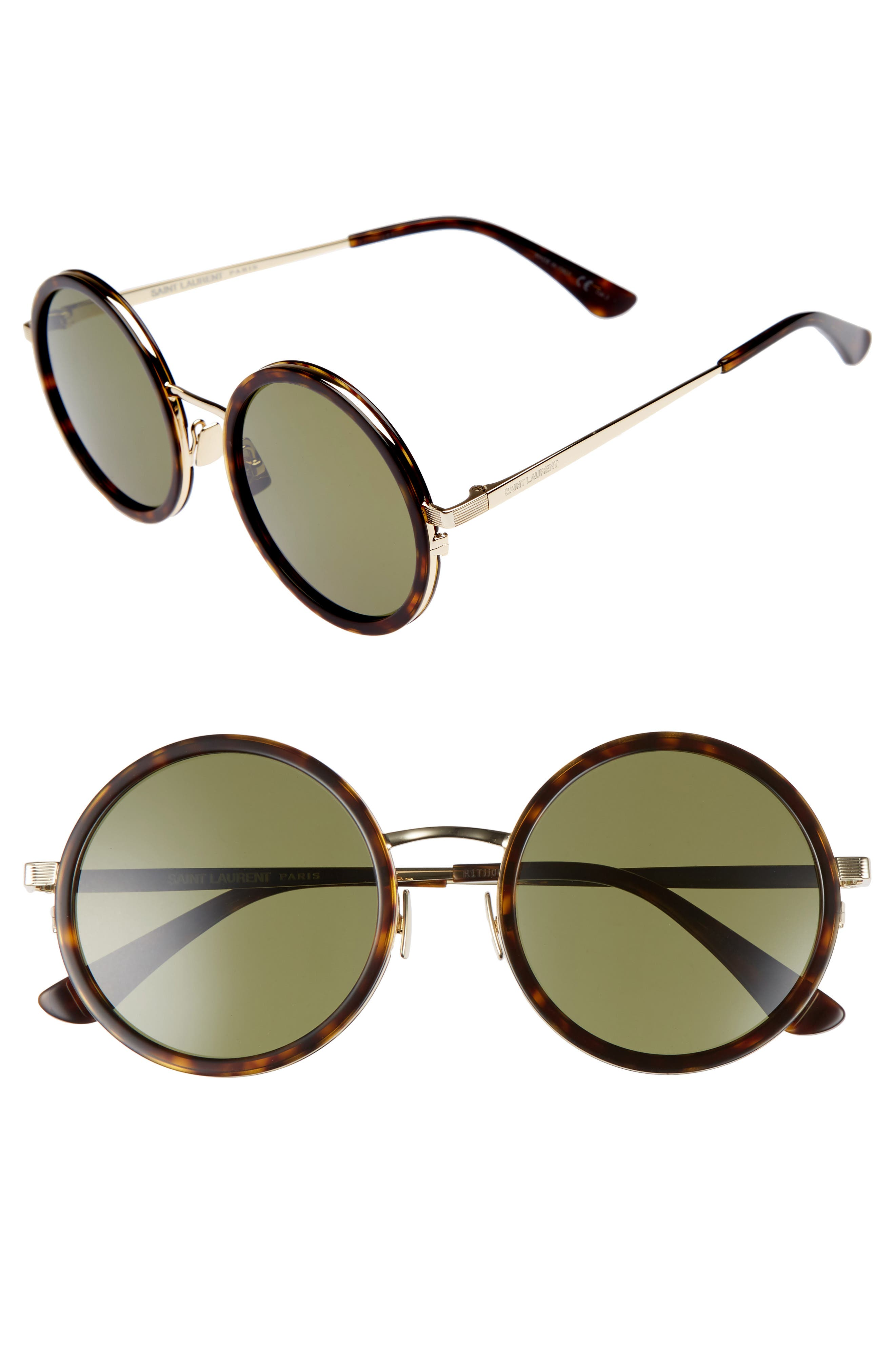 52mm Round Sunglasses,                             Main thumbnail 1, color,                             Havana
