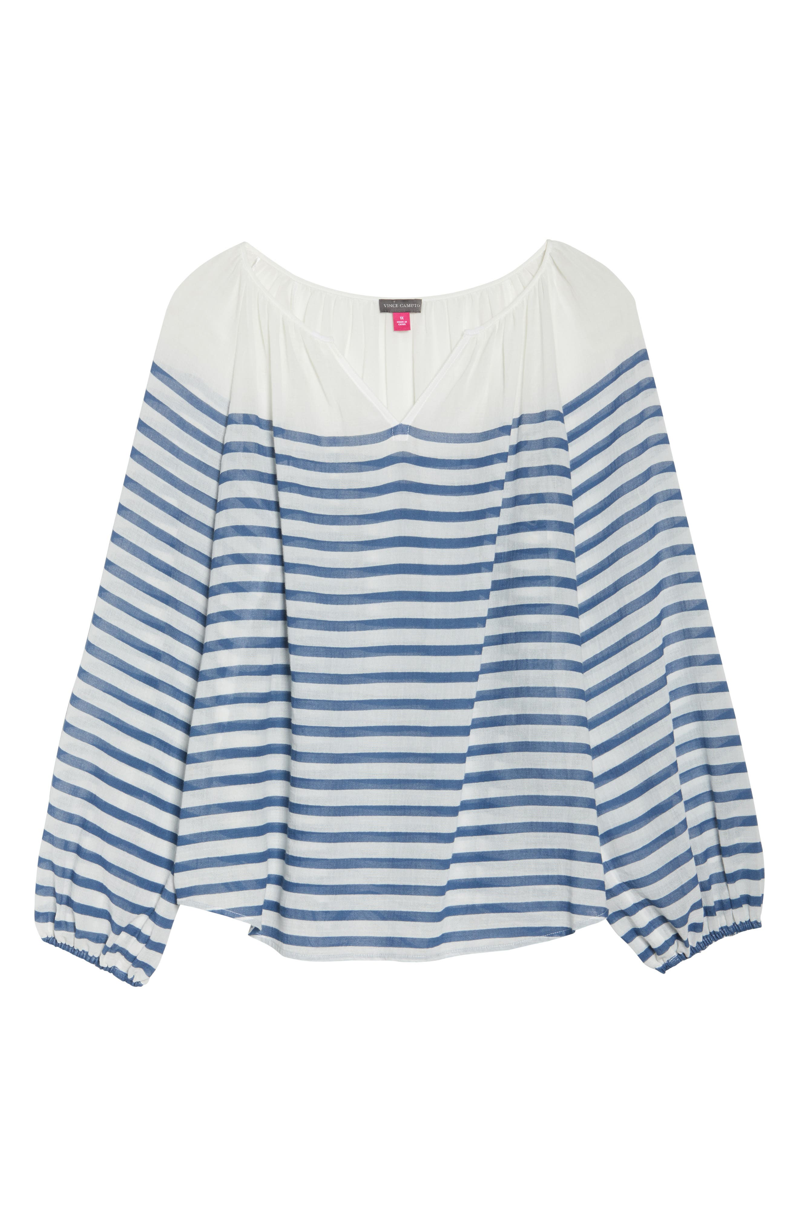 Stripe Peasant Blouse,                             Alternate thumbnail 6, color,                             Patina Blue