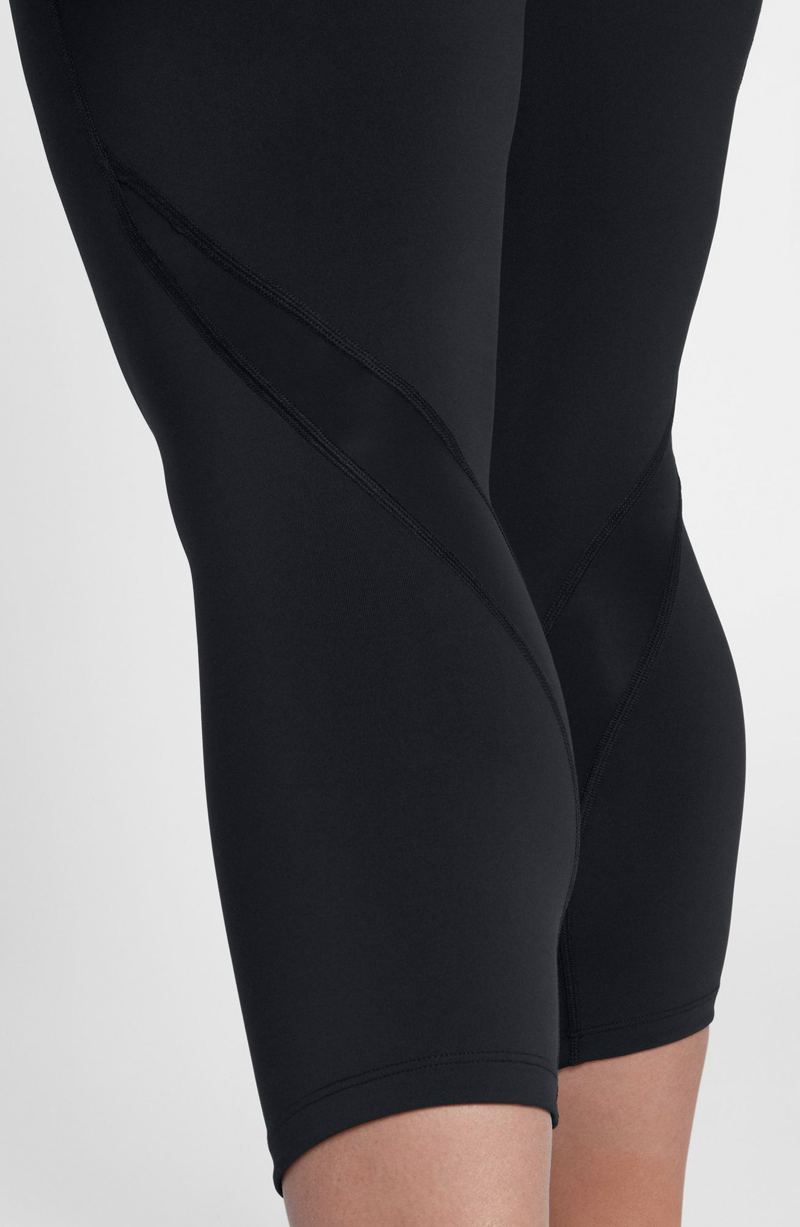 Power Epic Lux Crop Running Tights,                             Alternate thumbnail 6, color,                             Black