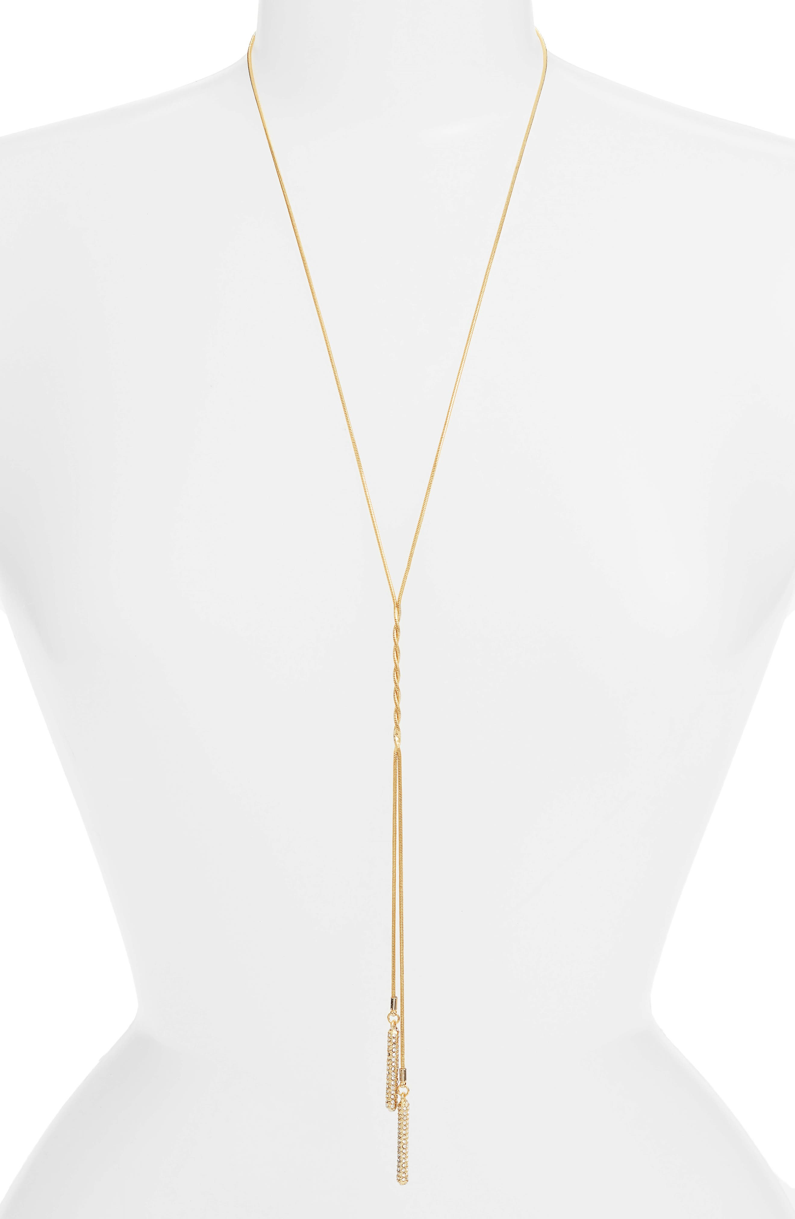 Pavé Twisted Lariat Necklace,                         Main,                         color, Gold