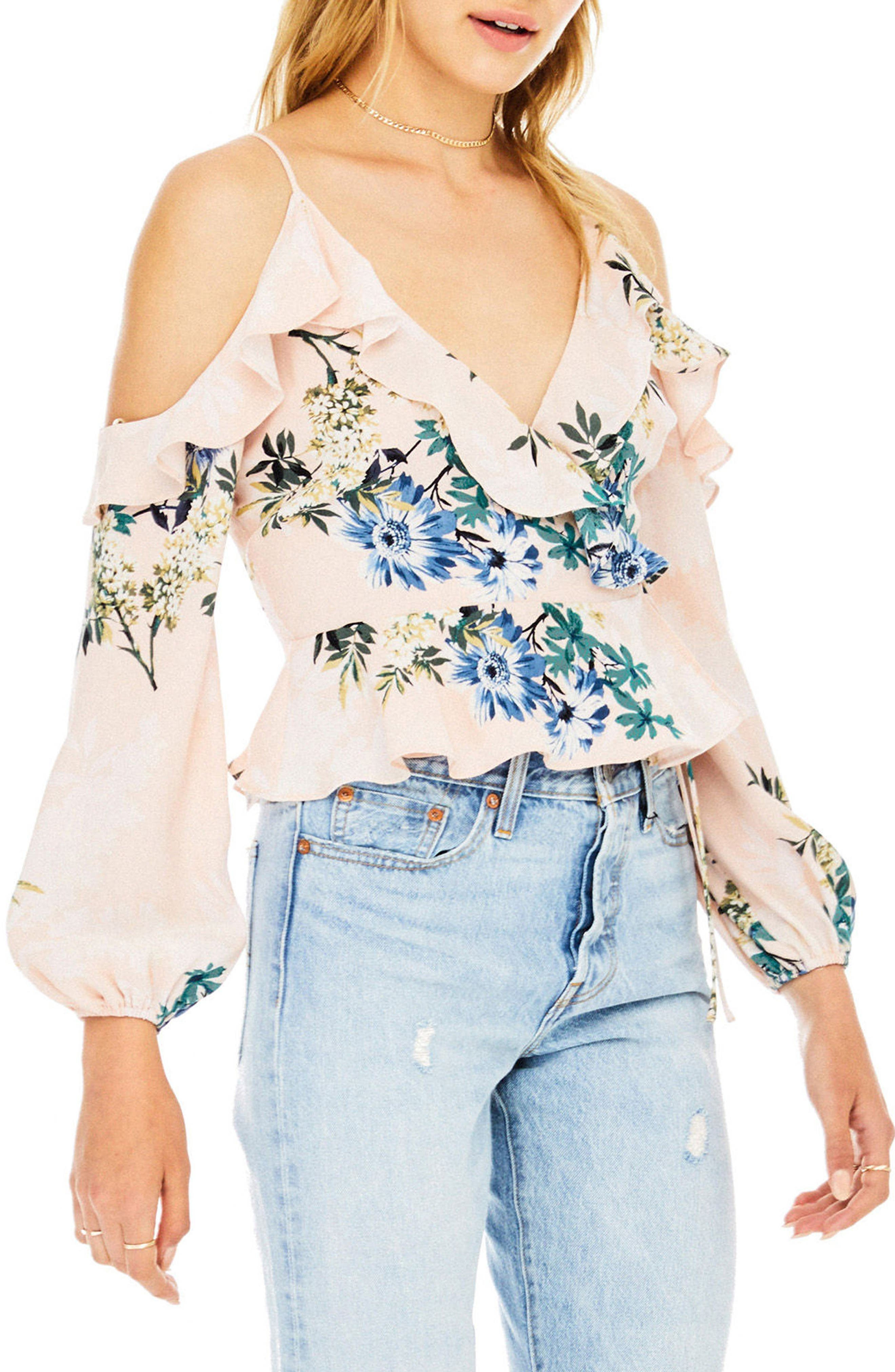Grace Cold Shoulder Wrap Blouse,                             Alternate thumbnail 3, color,                             Blush Multi Floral
