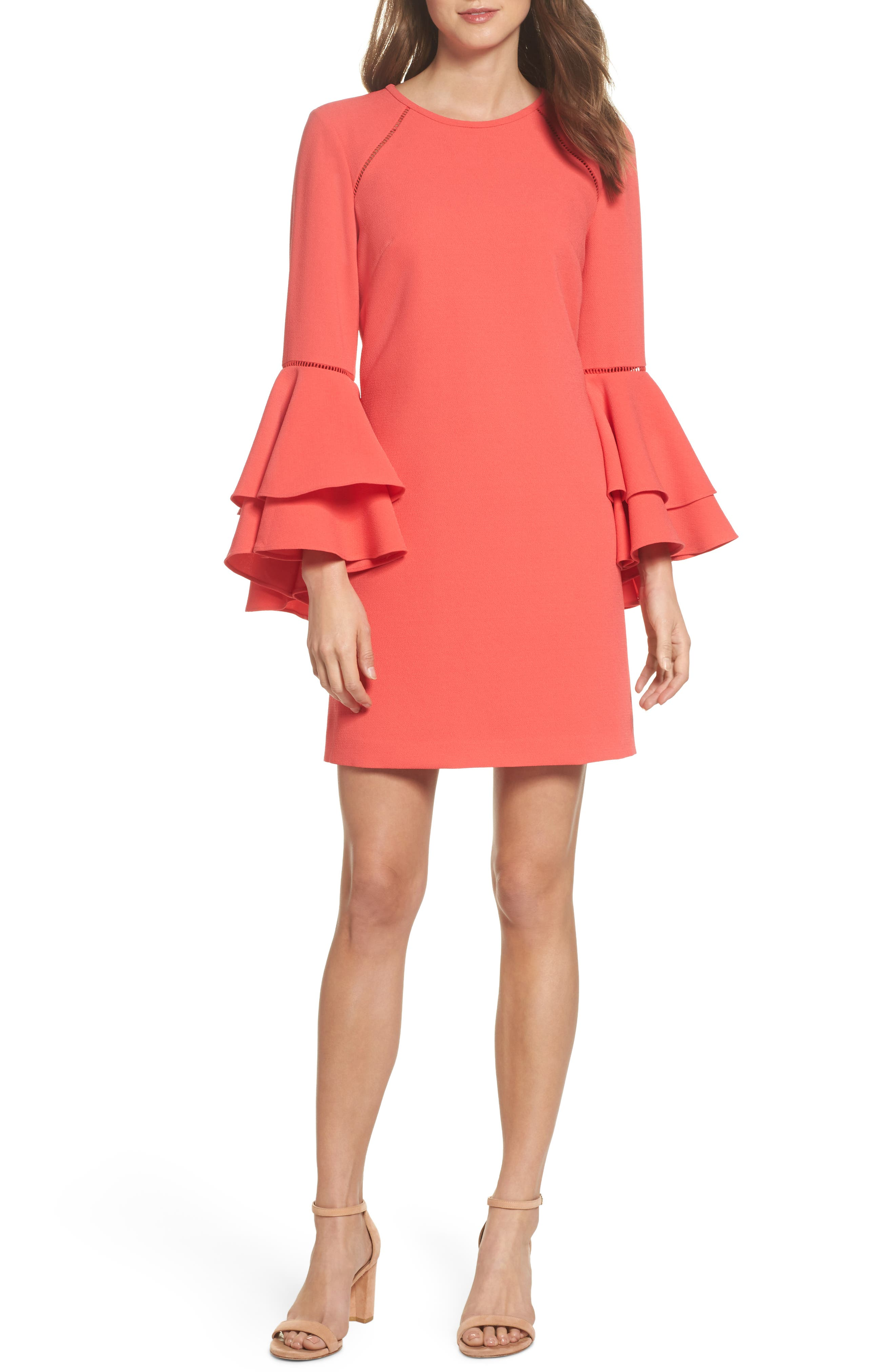 Tiered Bell Sleeve Shift Dress,                             Main thumbnail 1, color,                             Red Hibiscus