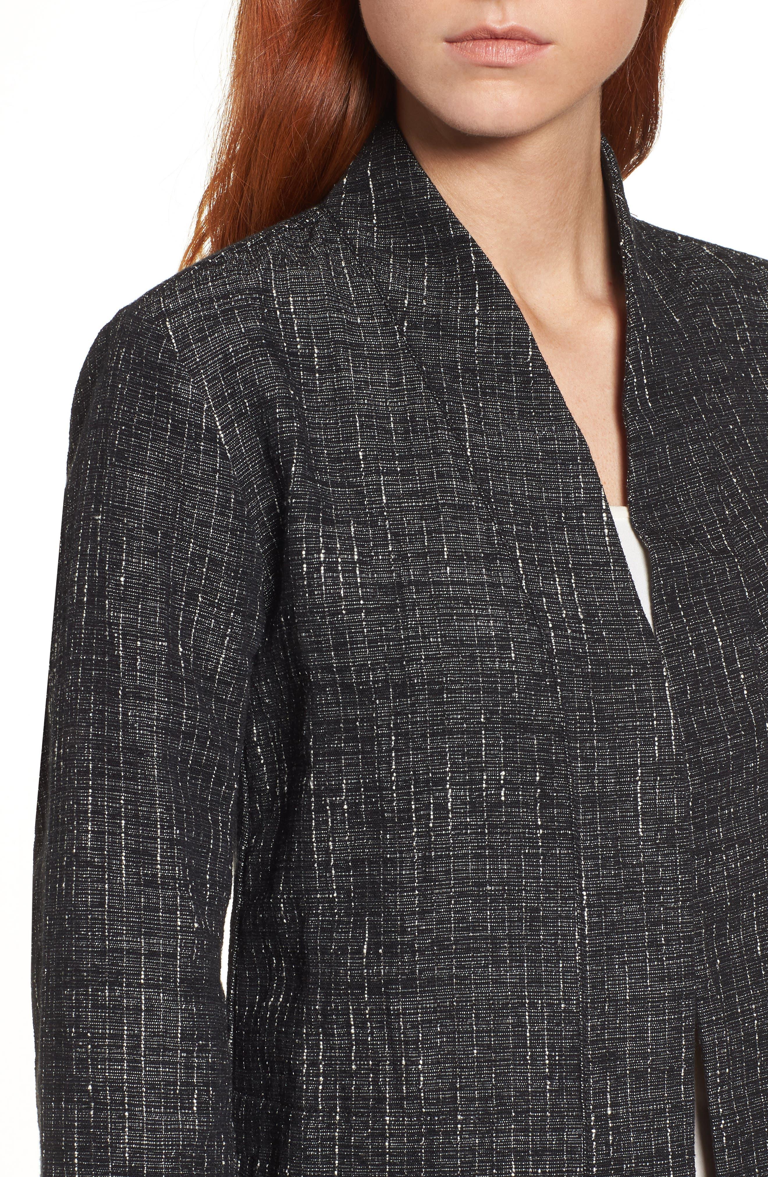Stand Collar Kimono Jacket,                             Alternate thumbnail 4, color,                             Black