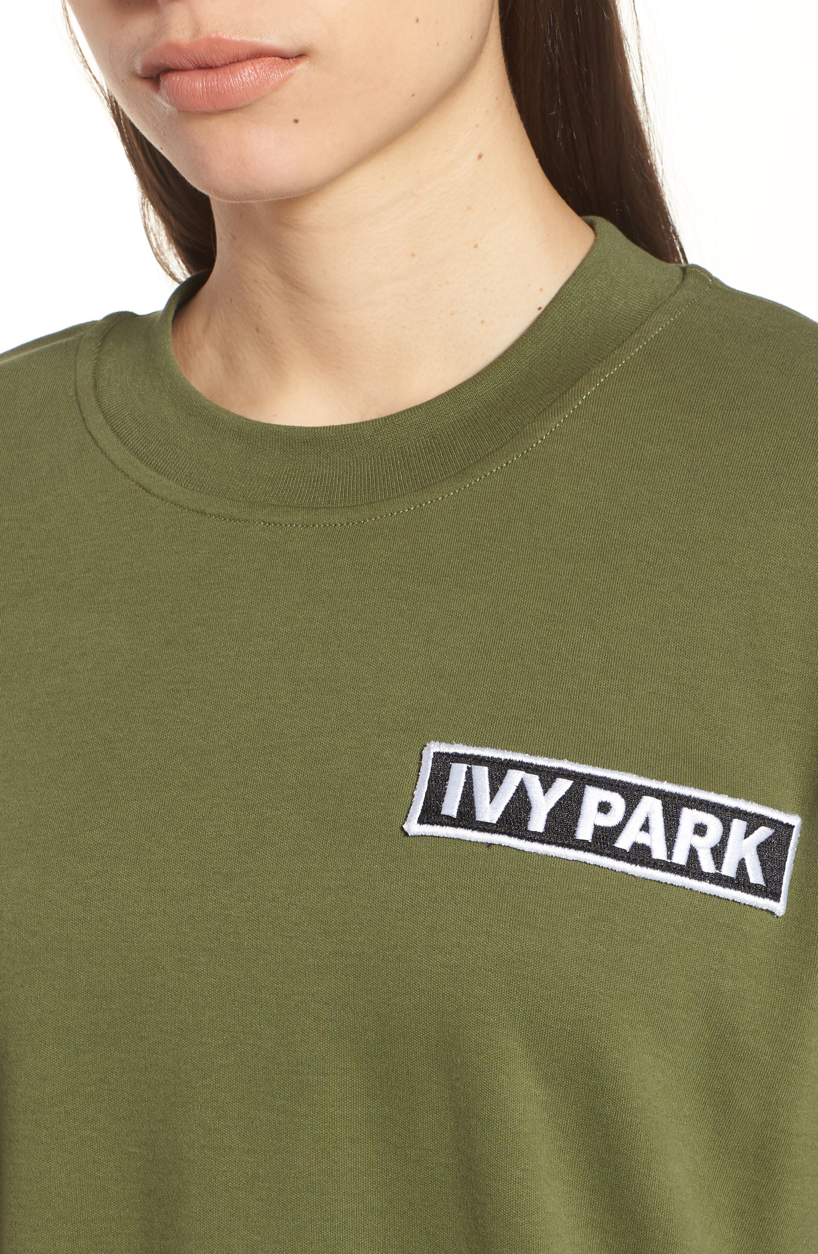 Oversize Logo Patch Tee,                             Alternate thumbnail 4, color,                             Moss