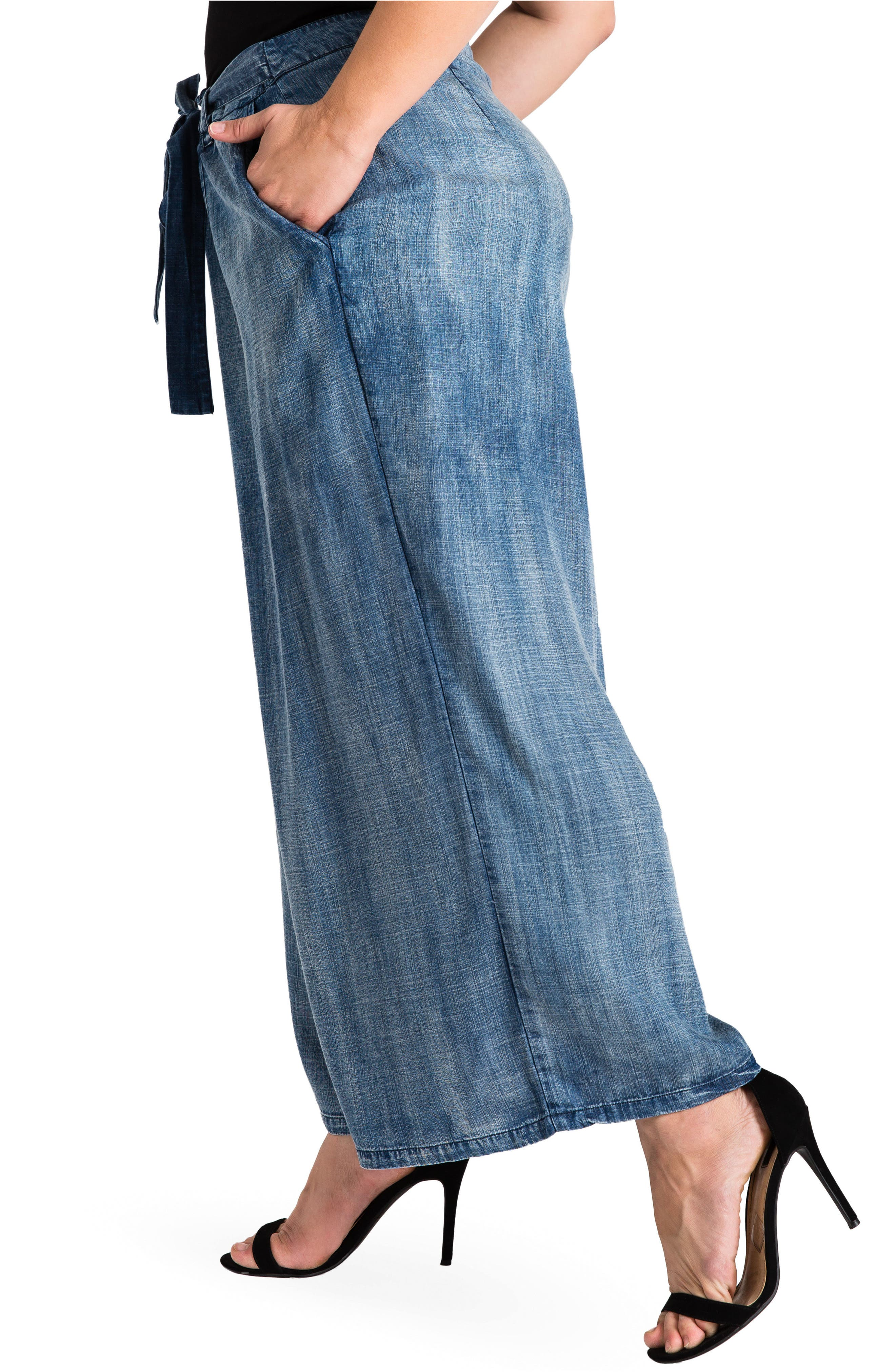 Sophi Crop Wide Leg Pants,                             Alternate thumbnail 3, color,                             Medium Blue