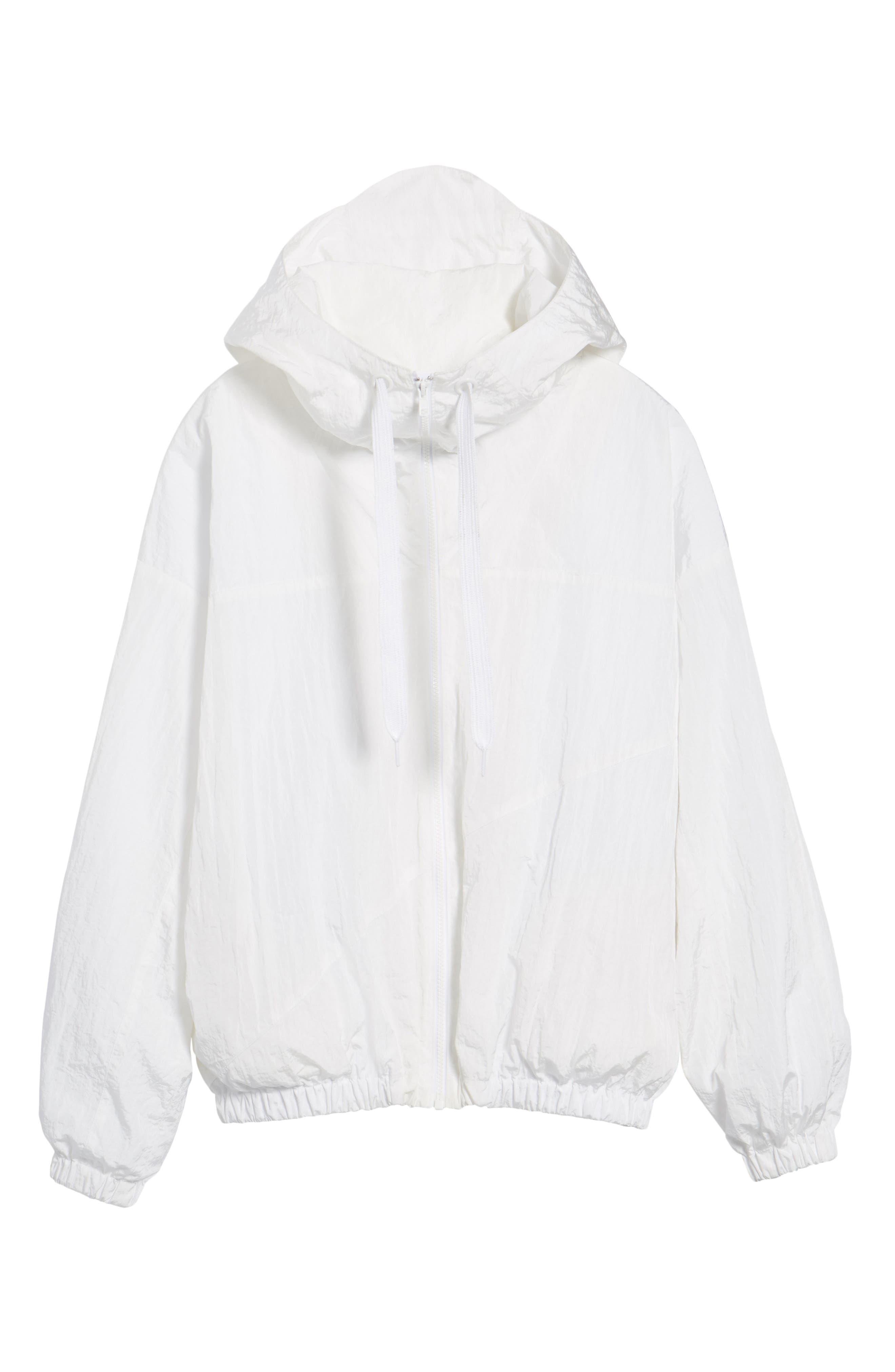 Hooded Windbreaker Jacket,                             Alternate thumbnail 6, color,                             White