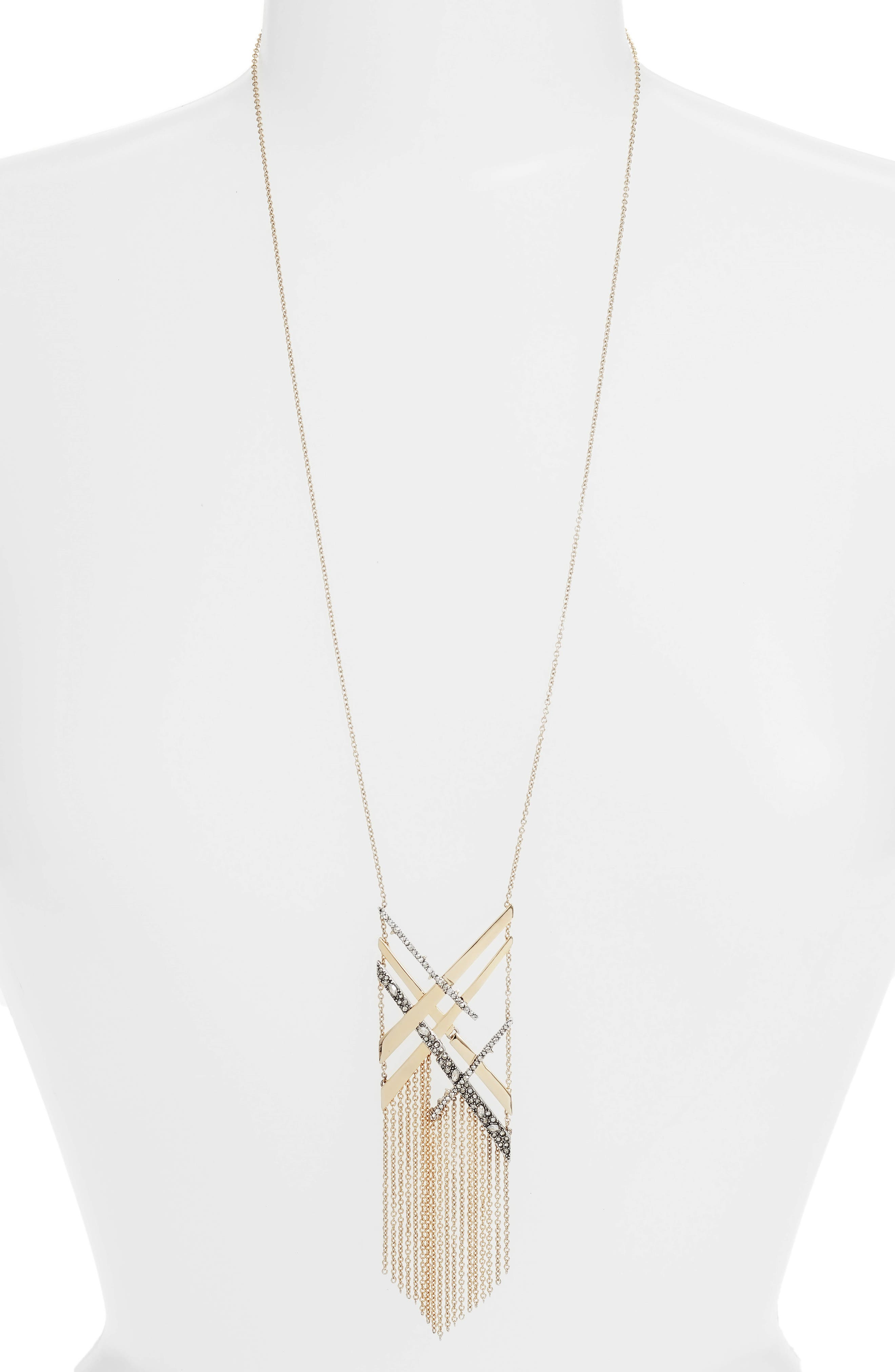 Plaid Tassel Necklace,                             Main thumbnail 1, color,                             Gold/ Silver