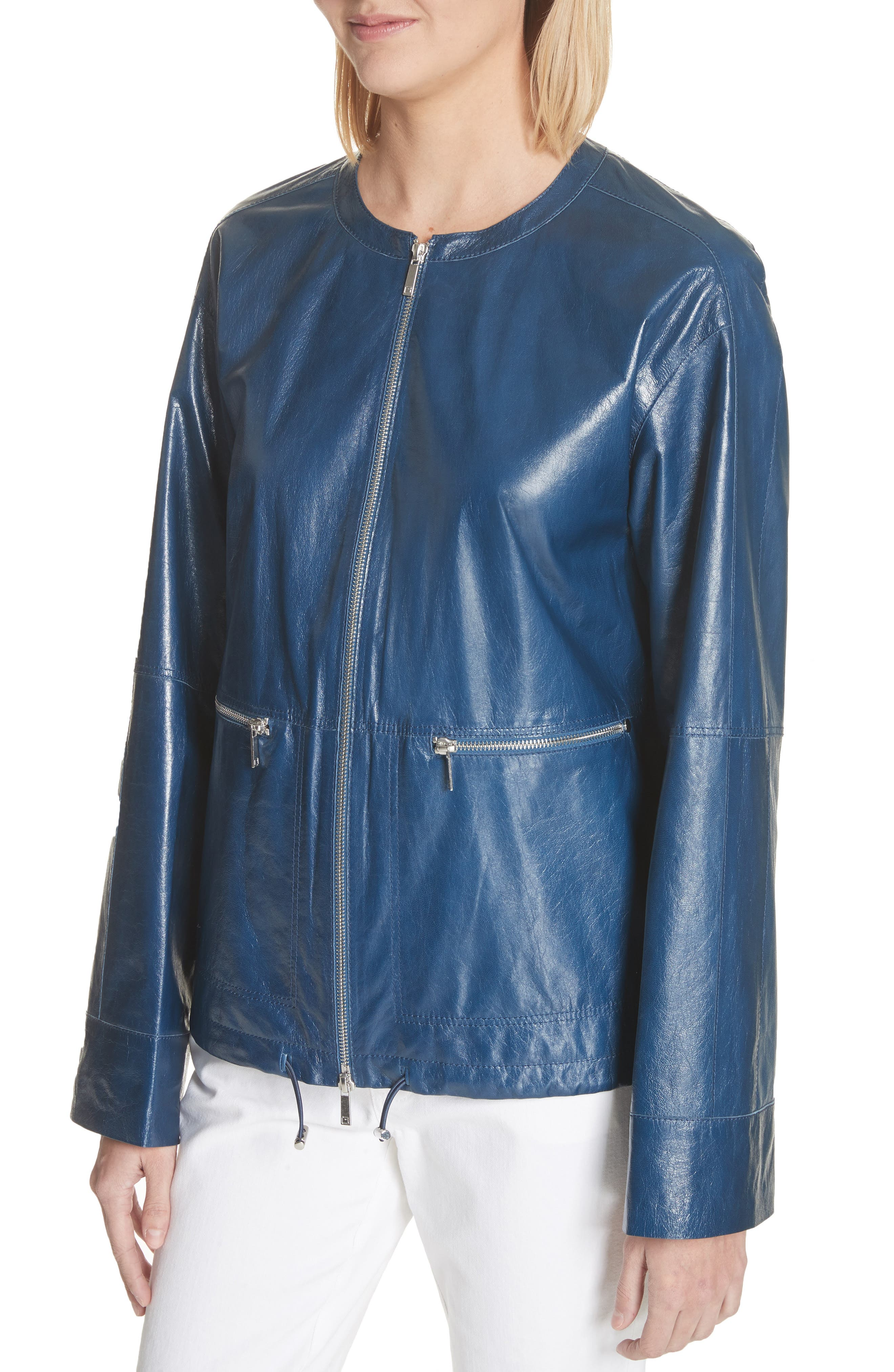 Fleming Leather Jacket,                             Alternate thumbnail 4, color,                             Majolica Blue