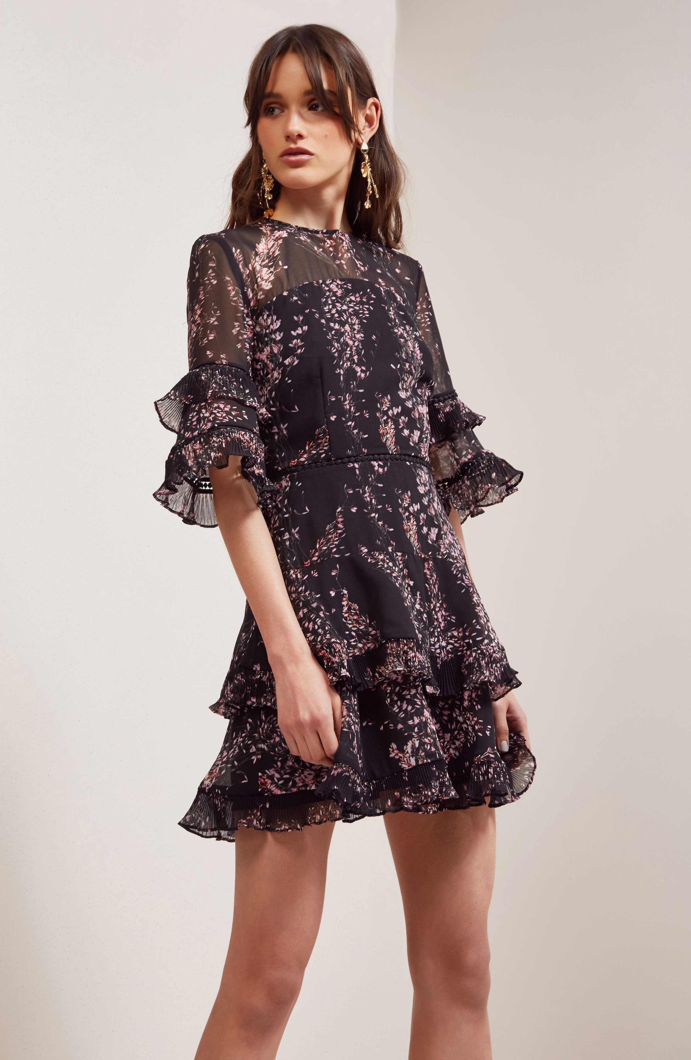 Light Up Ruffle Minidress,                             Alternate thumbnail 7, color,                             Black Wildflower Floral