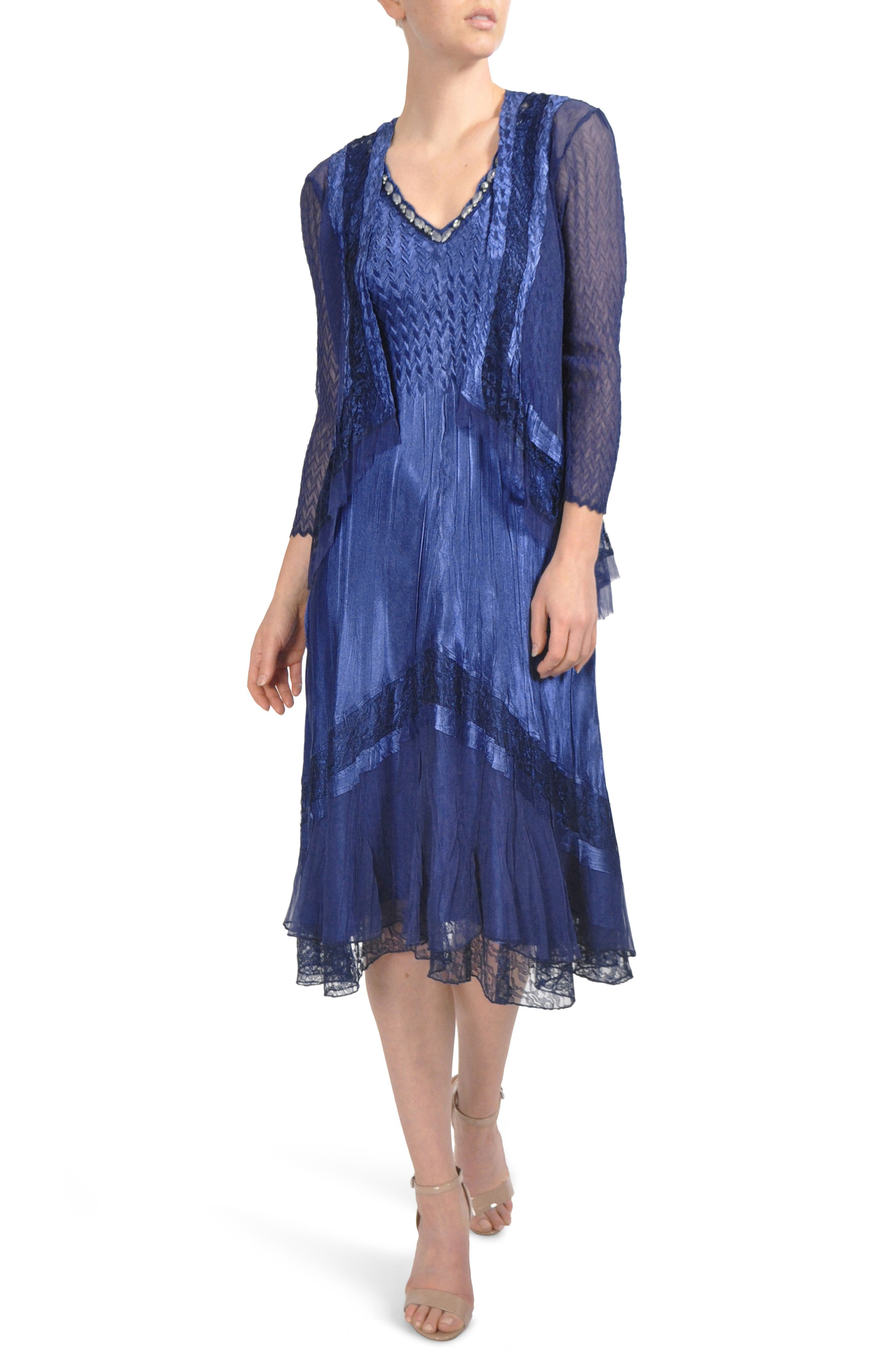 Embellished Lace Trim Dress with Jacket,                             Main thumbnail 1, color,                             Navy Black Ombre