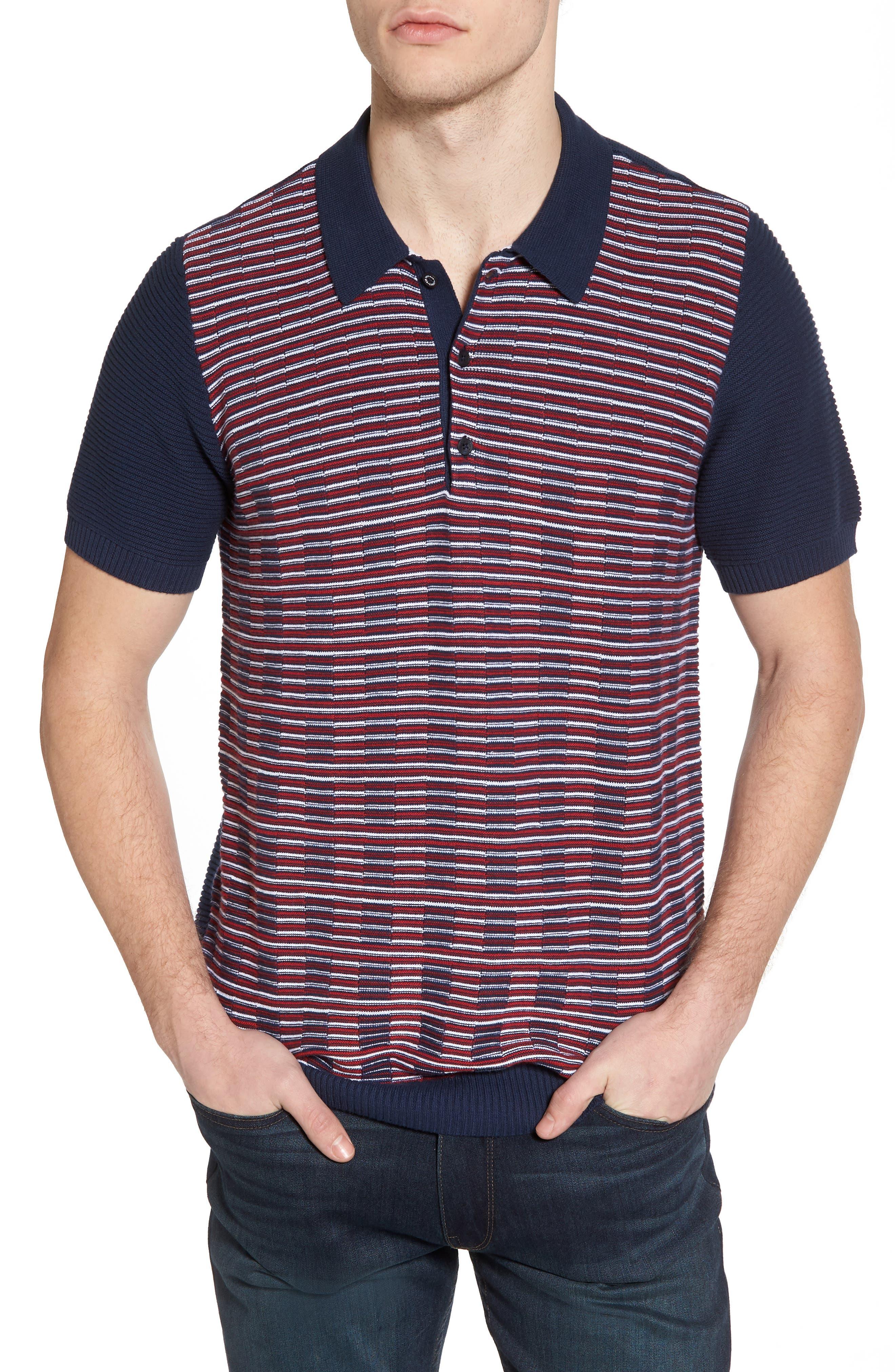 Mixed Stripe Polo,                         Main,                         color, Dark Blue