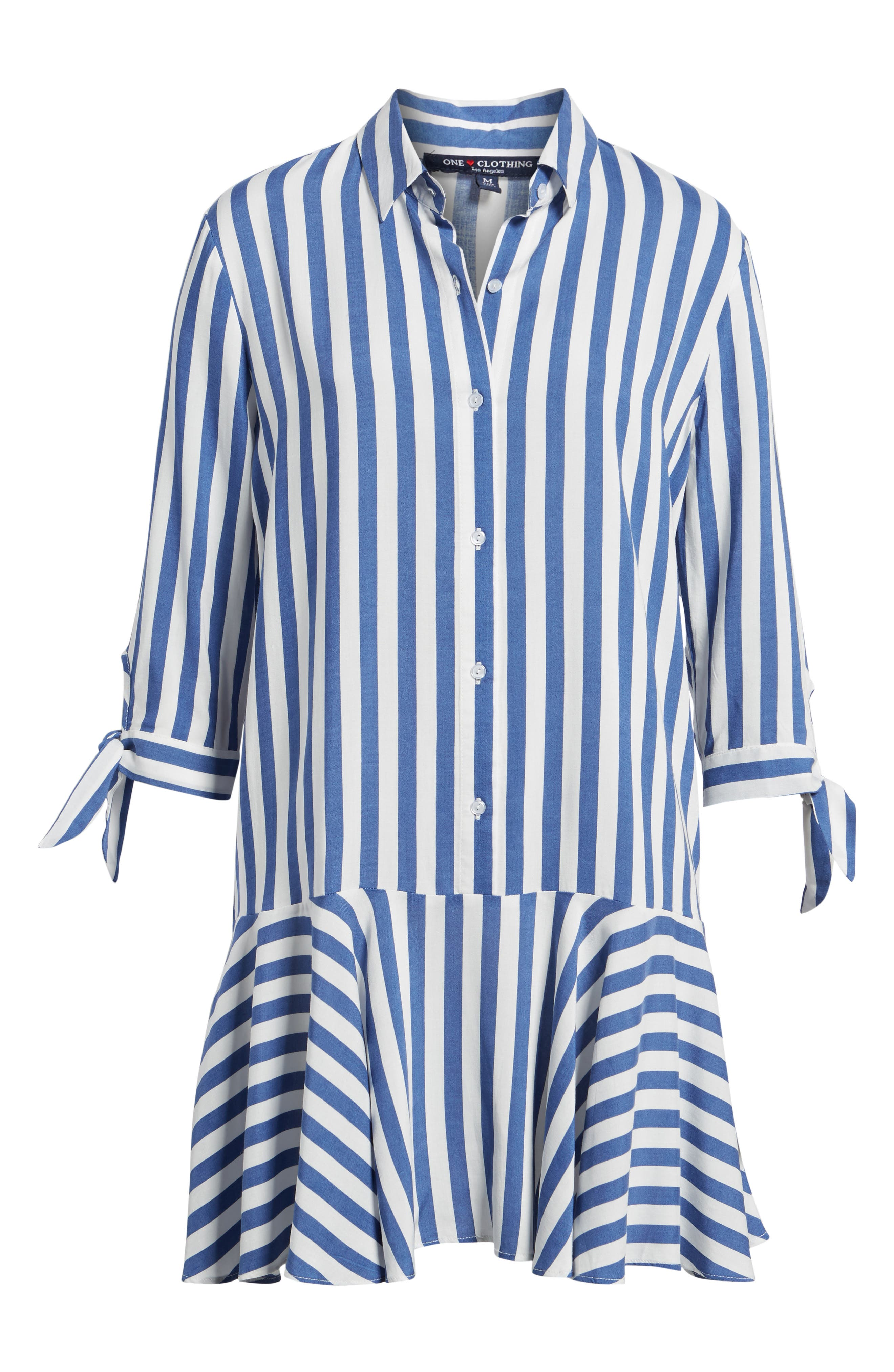 Drop Waist Shirtdress,                             Alternate thumbnail 6, color,                             Blue/ White