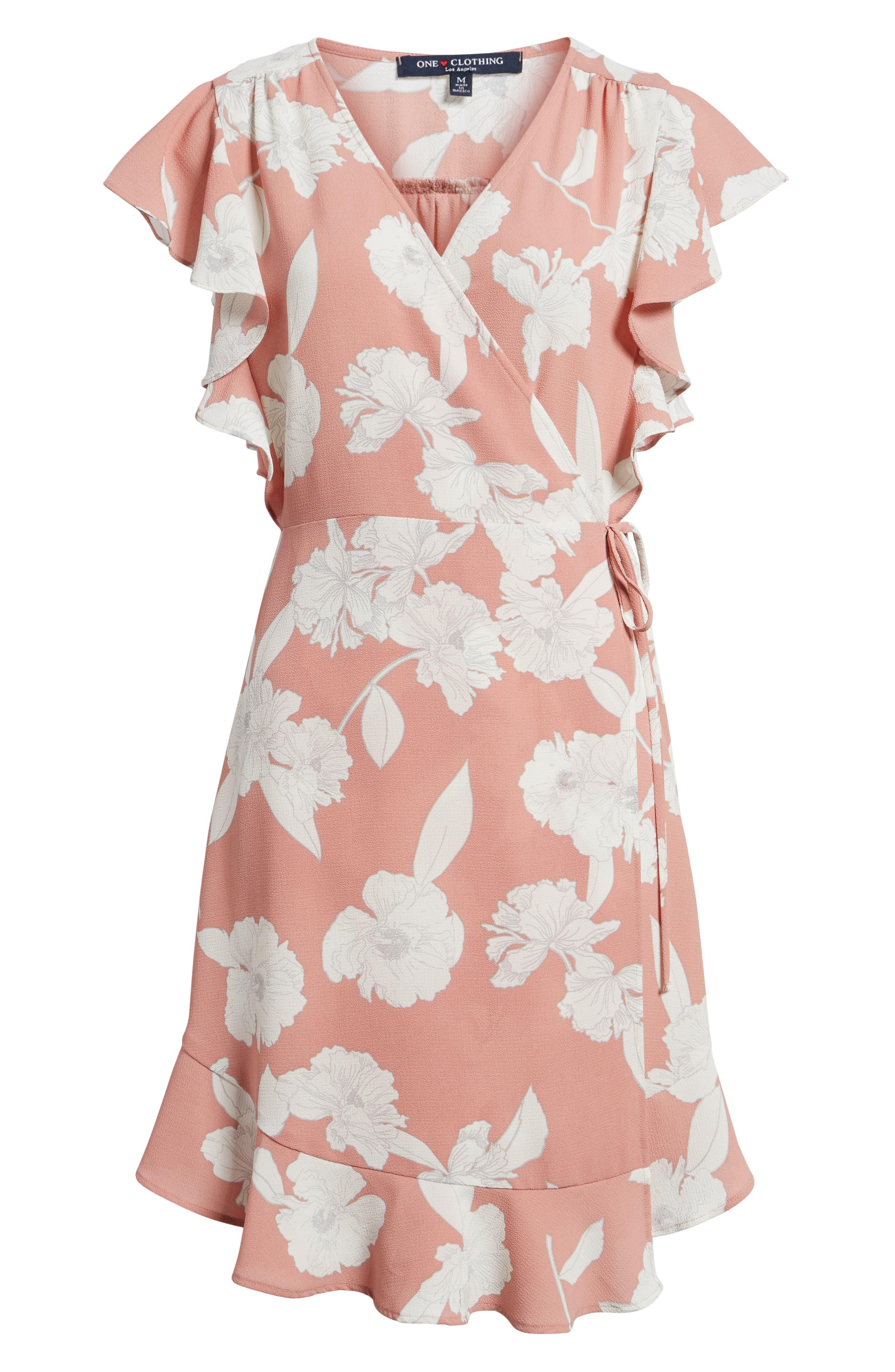 Ruffle Wrap Dress,                             Alternate thumbnail 6, color,                             Blush/ Ivory