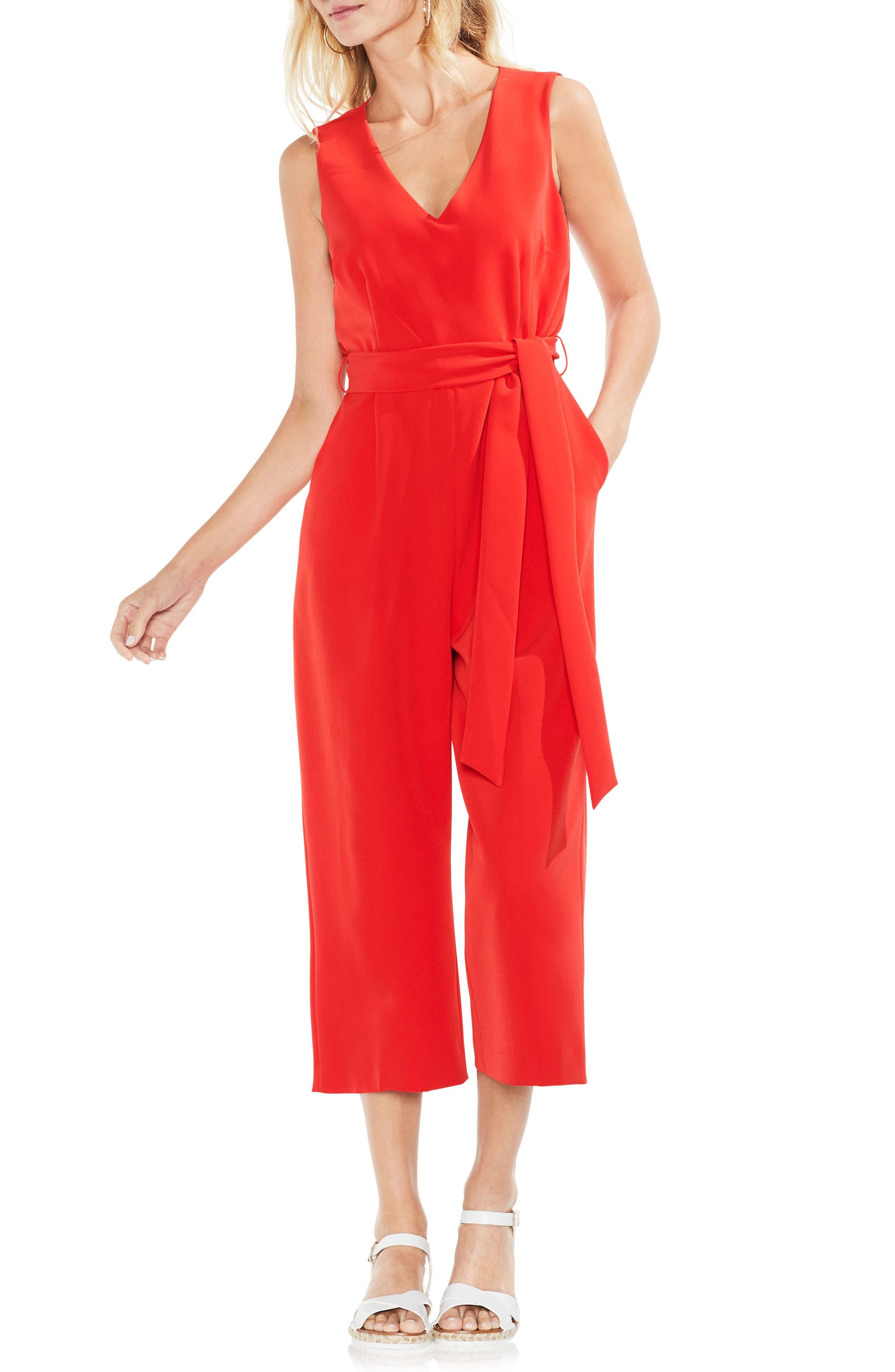 Sleeveless Tie Waist Jumpsuit,                         Main,                         color, Geranium