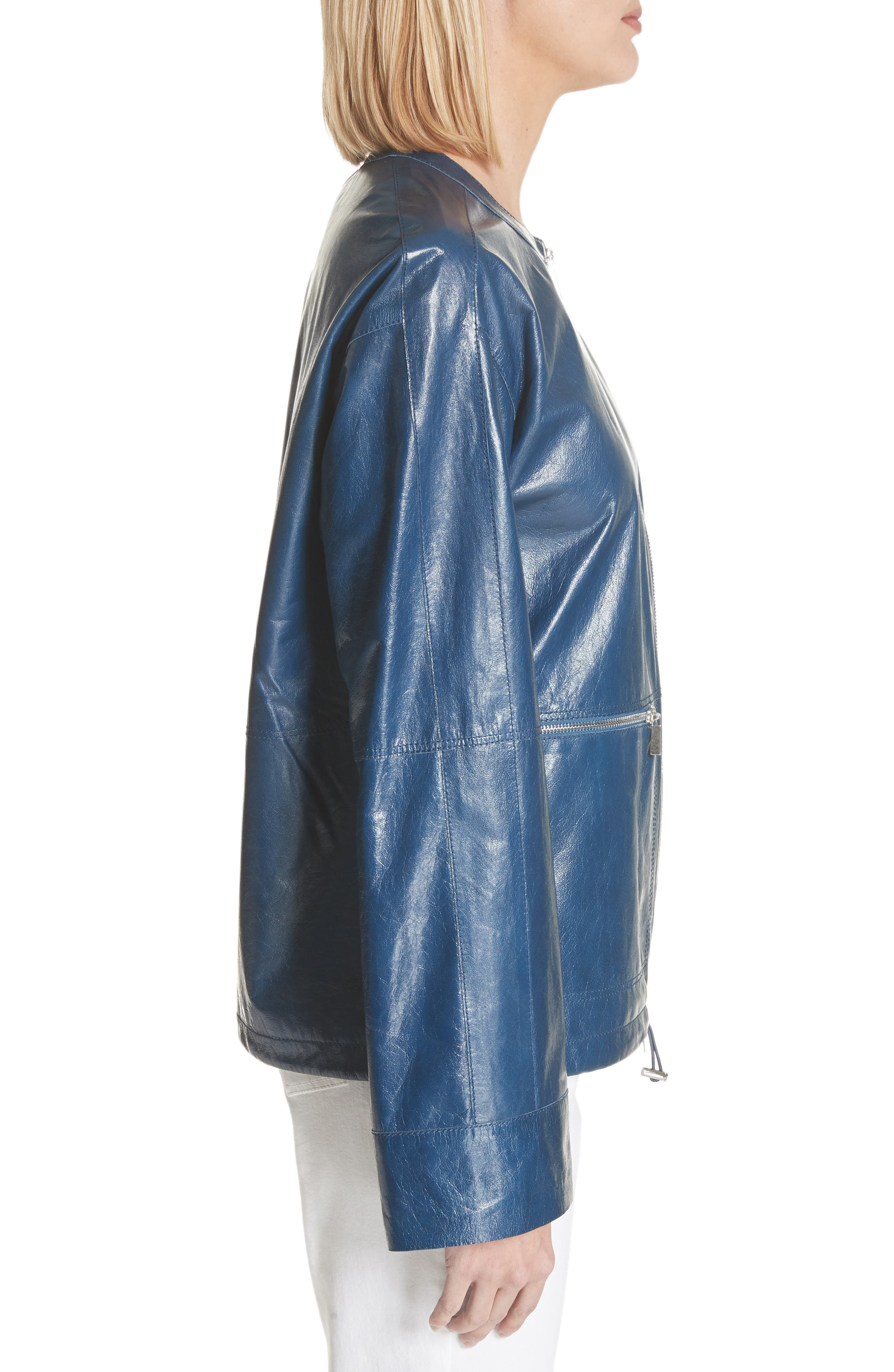 Fleming Leather Jacket,                             Alternate thumbnail 3, color,                             Majolica Blue
