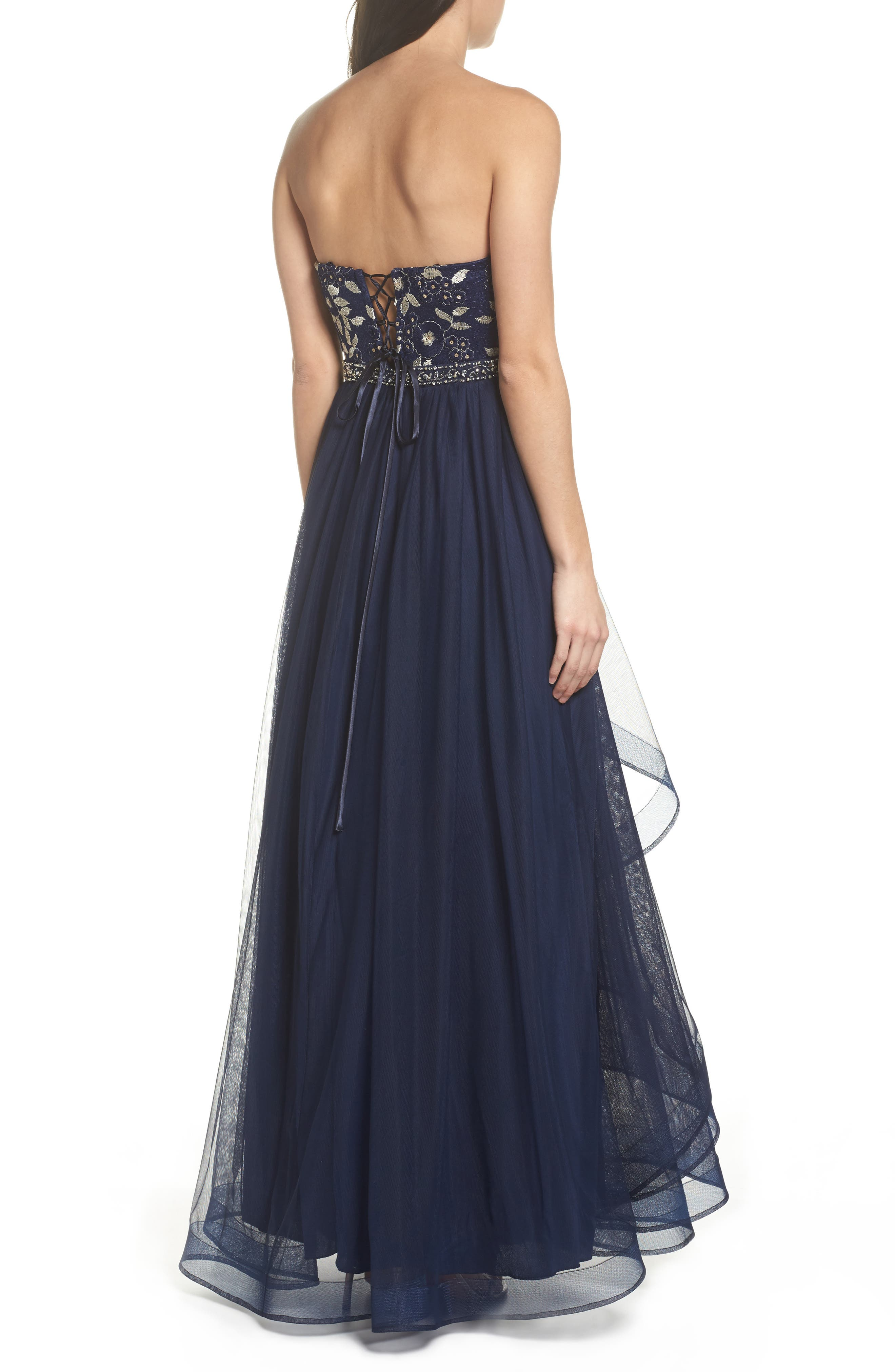 Strapless Lace & Tulle Gown,                             Alternate thumbnail 2, color,                             Navy/ Champagne