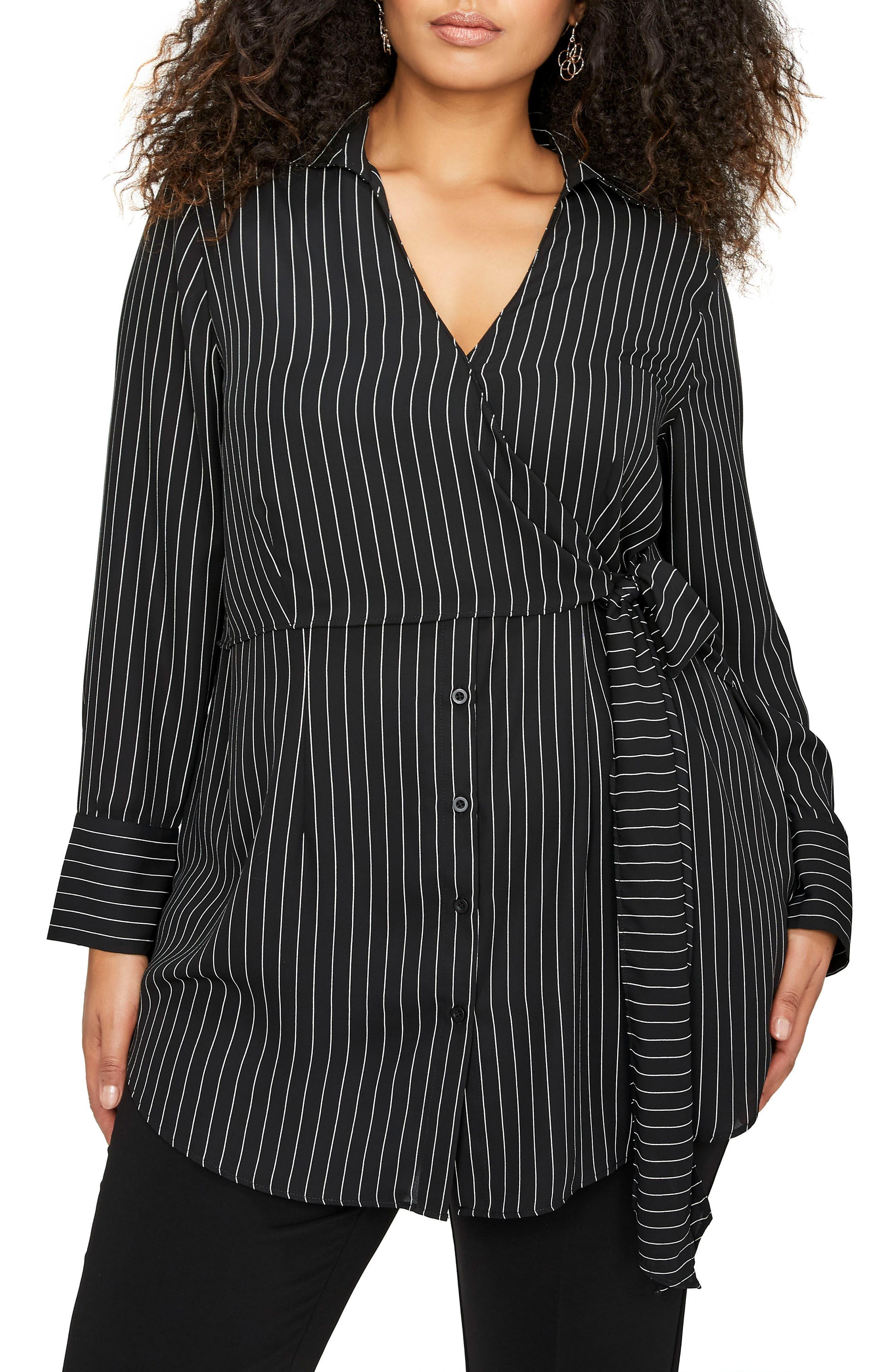 Side Tie Stripe Shirt,                             Main thumbnail 1, color,                             Pin Stripe Black Combo