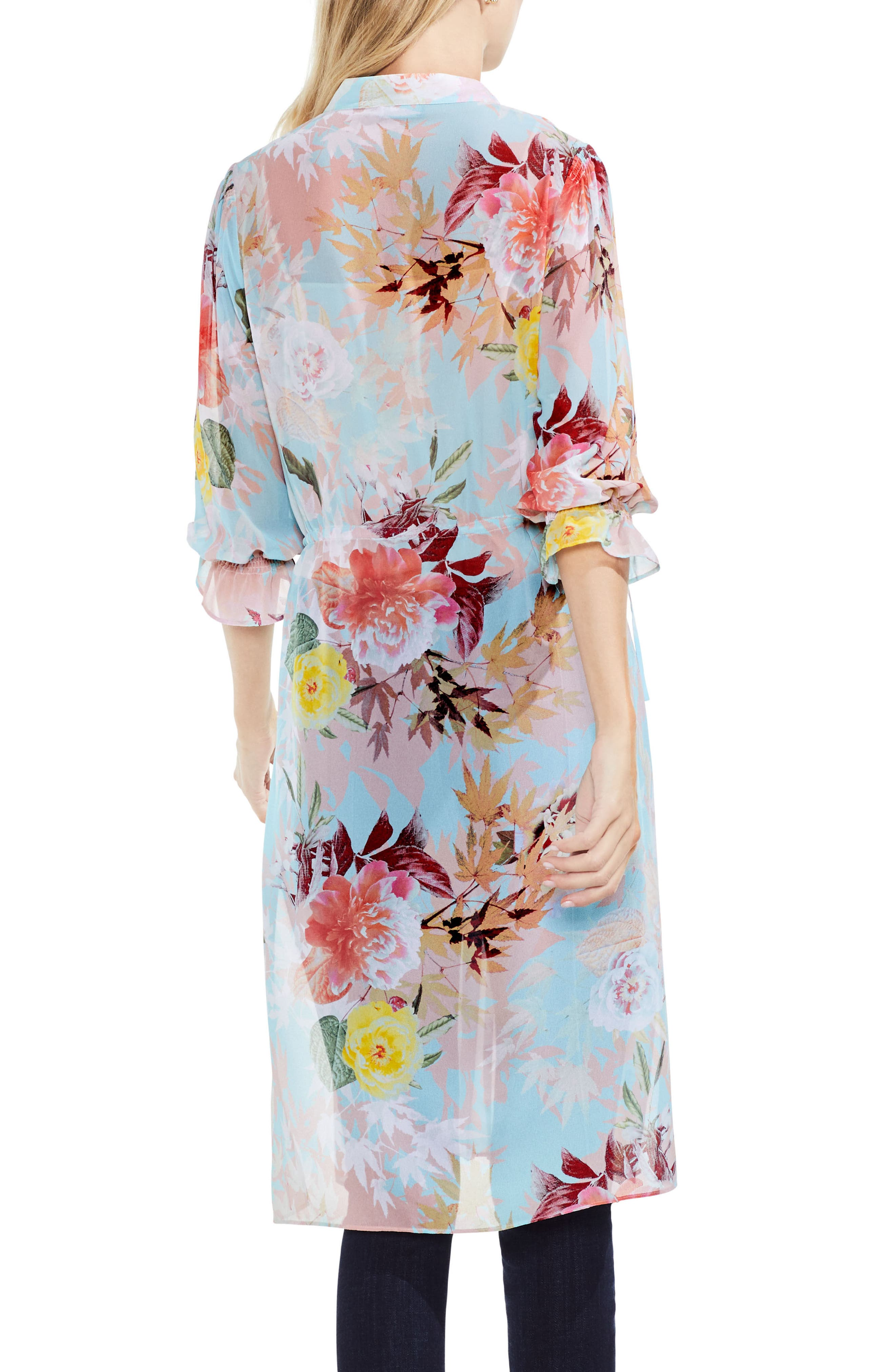 Faded Blooms Side Tie Tunic,                             Alternate thumbnail 2, color,                             Aqua Glow
