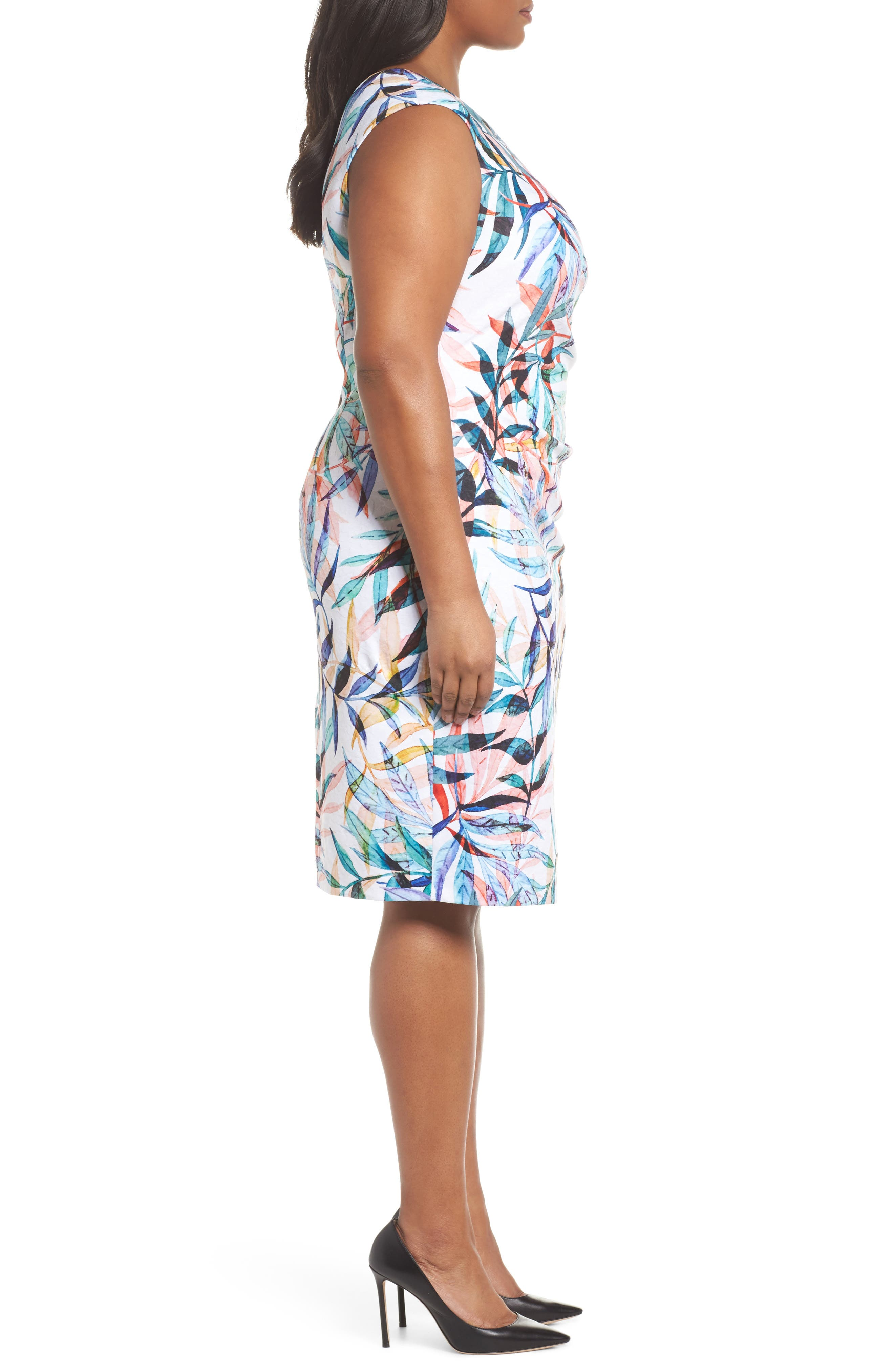 Watercolor Leaves Sheath Dress,                             Alternate thumbnail 3, color,                             Ivory Multi