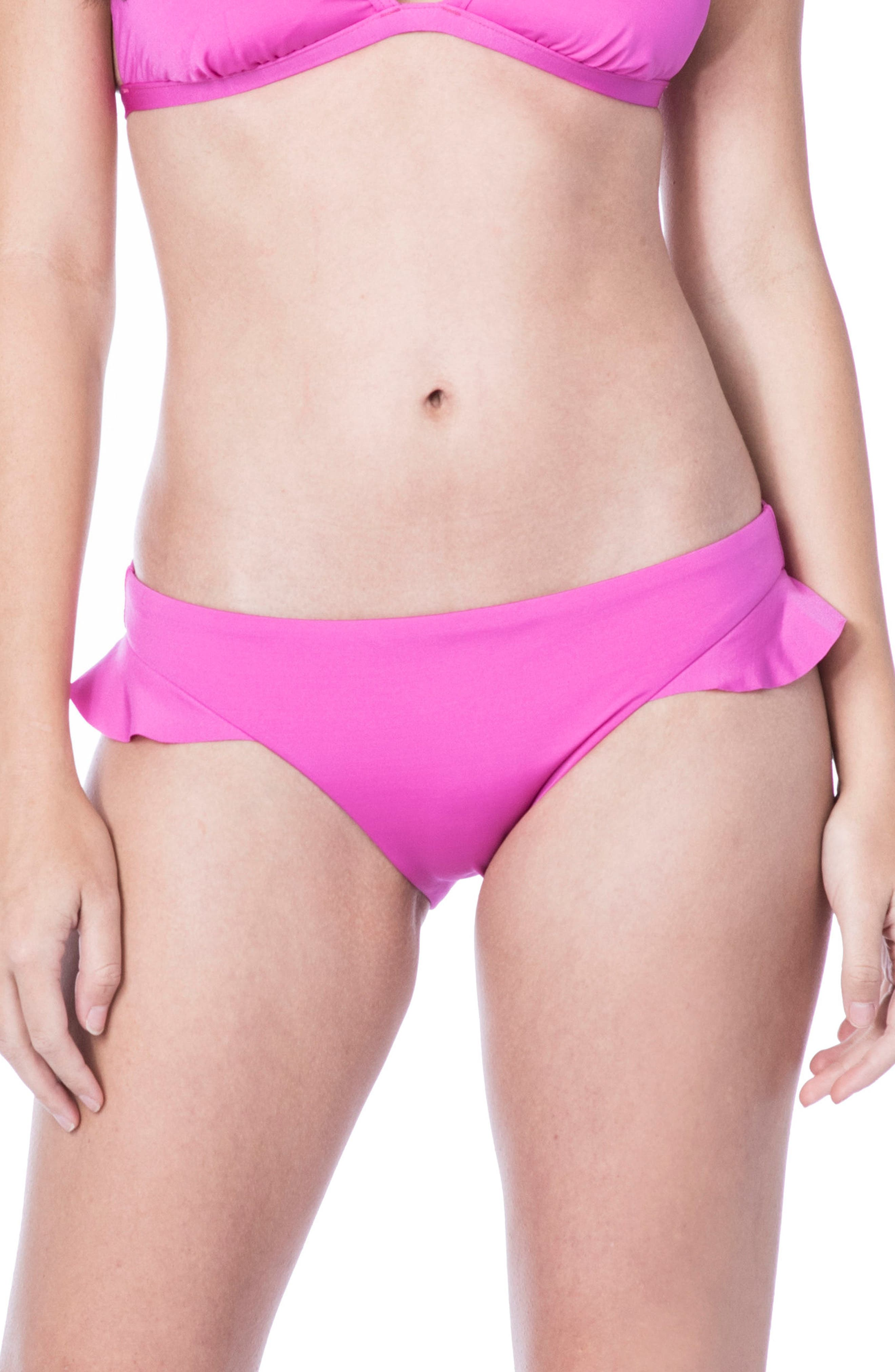 Key Solids Hipster Bikini Bottoms,                             Main thumbnail 1, color,                             Shocking Pink