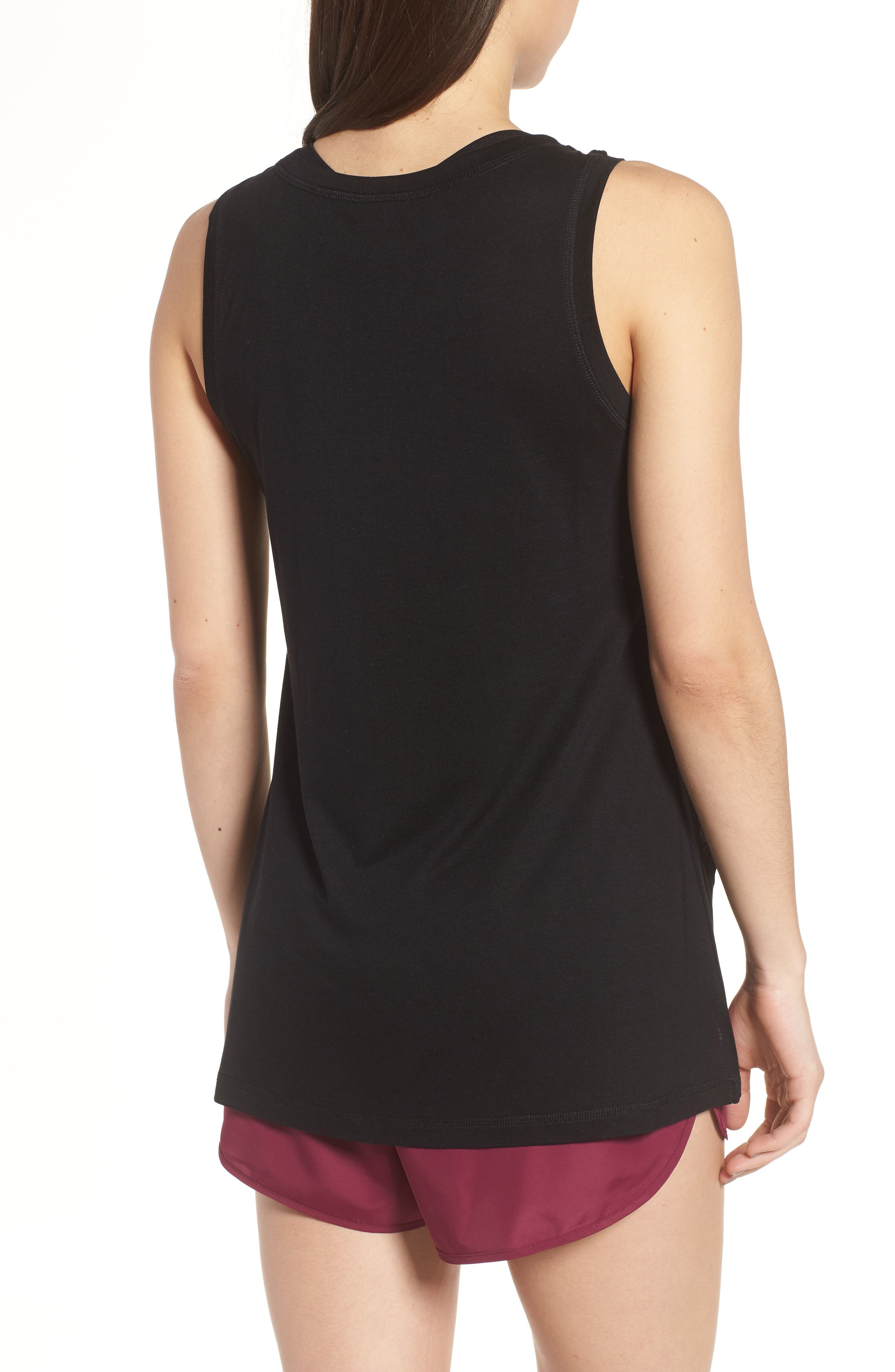 Cross Front Tank Top,                             Alternate thumbnail 2, color,                             Black
