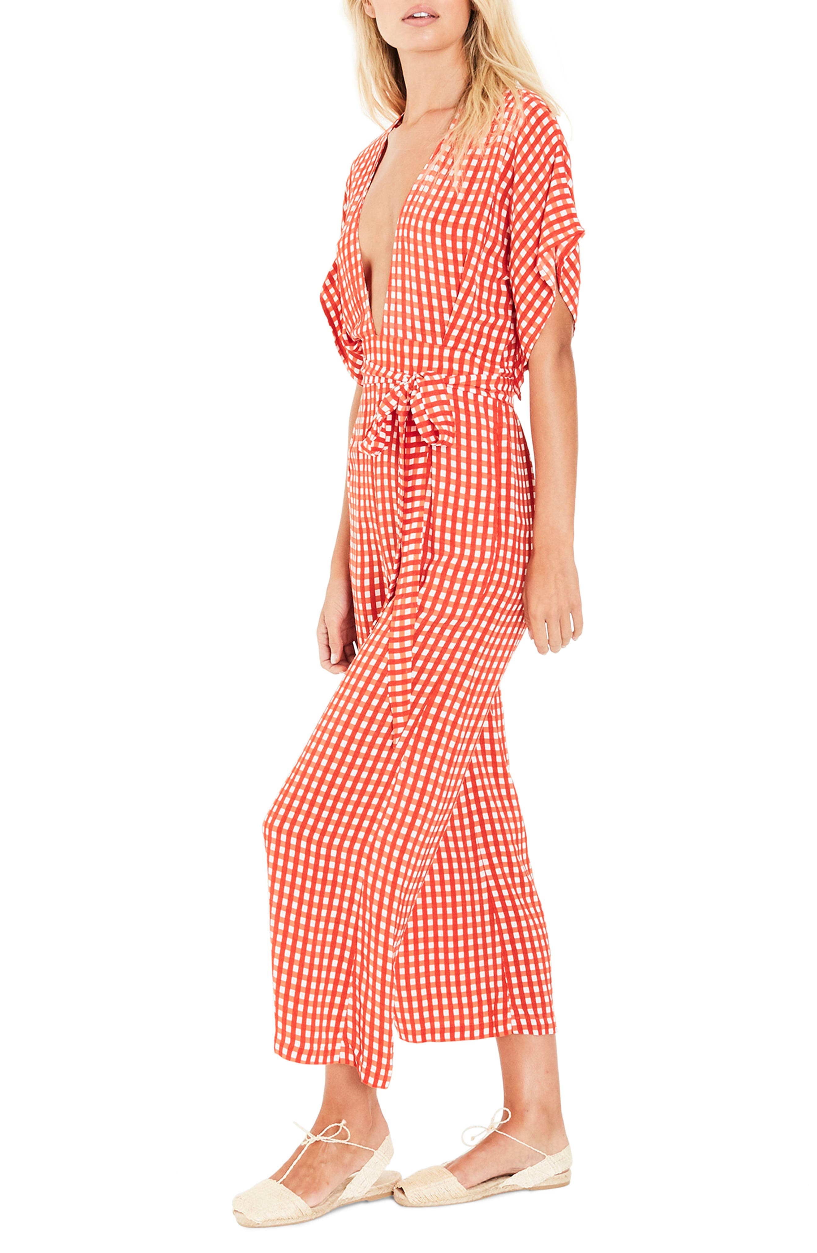 Alternate Image 4  - FAITHFULL THE BRAND Cedric Gingham Plunge Neck Jumpsuit