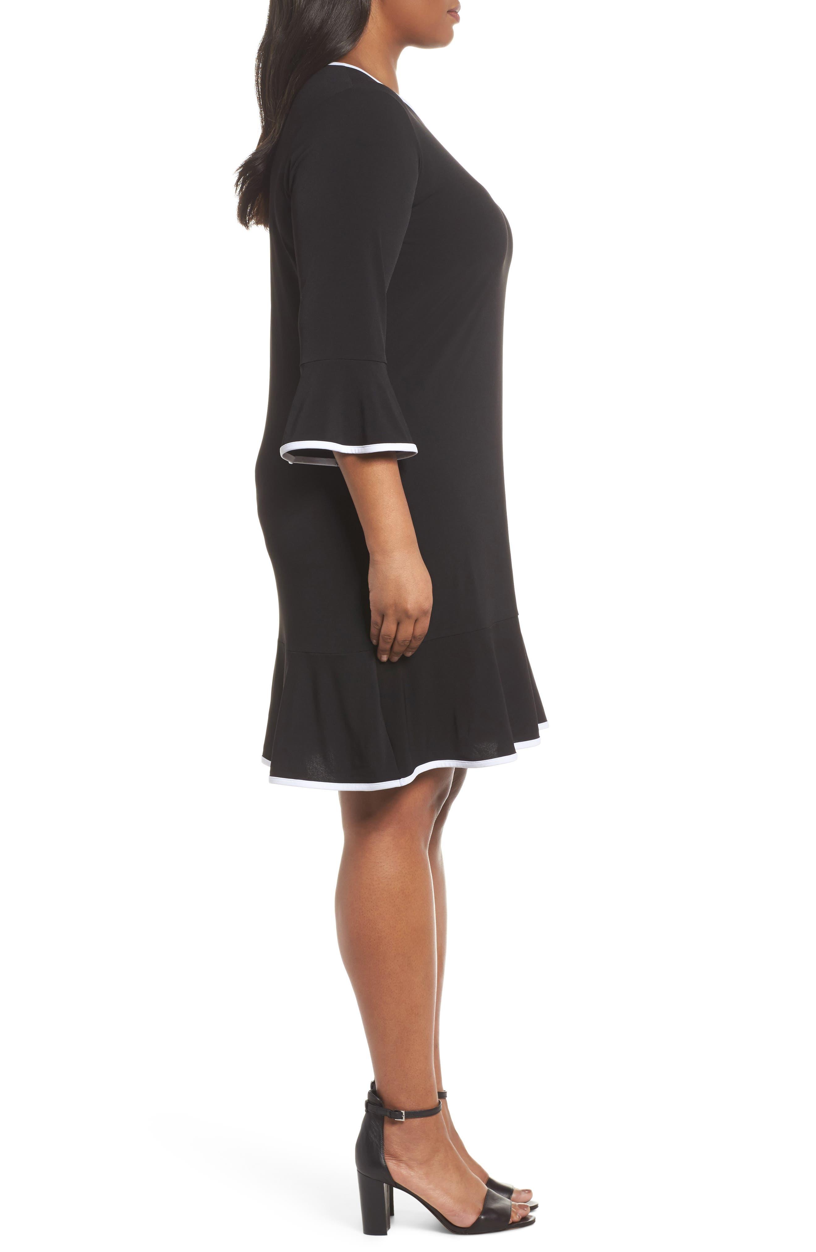 Solid Flounce Dress,                             Alternate thumbnail 3, color,                             Black