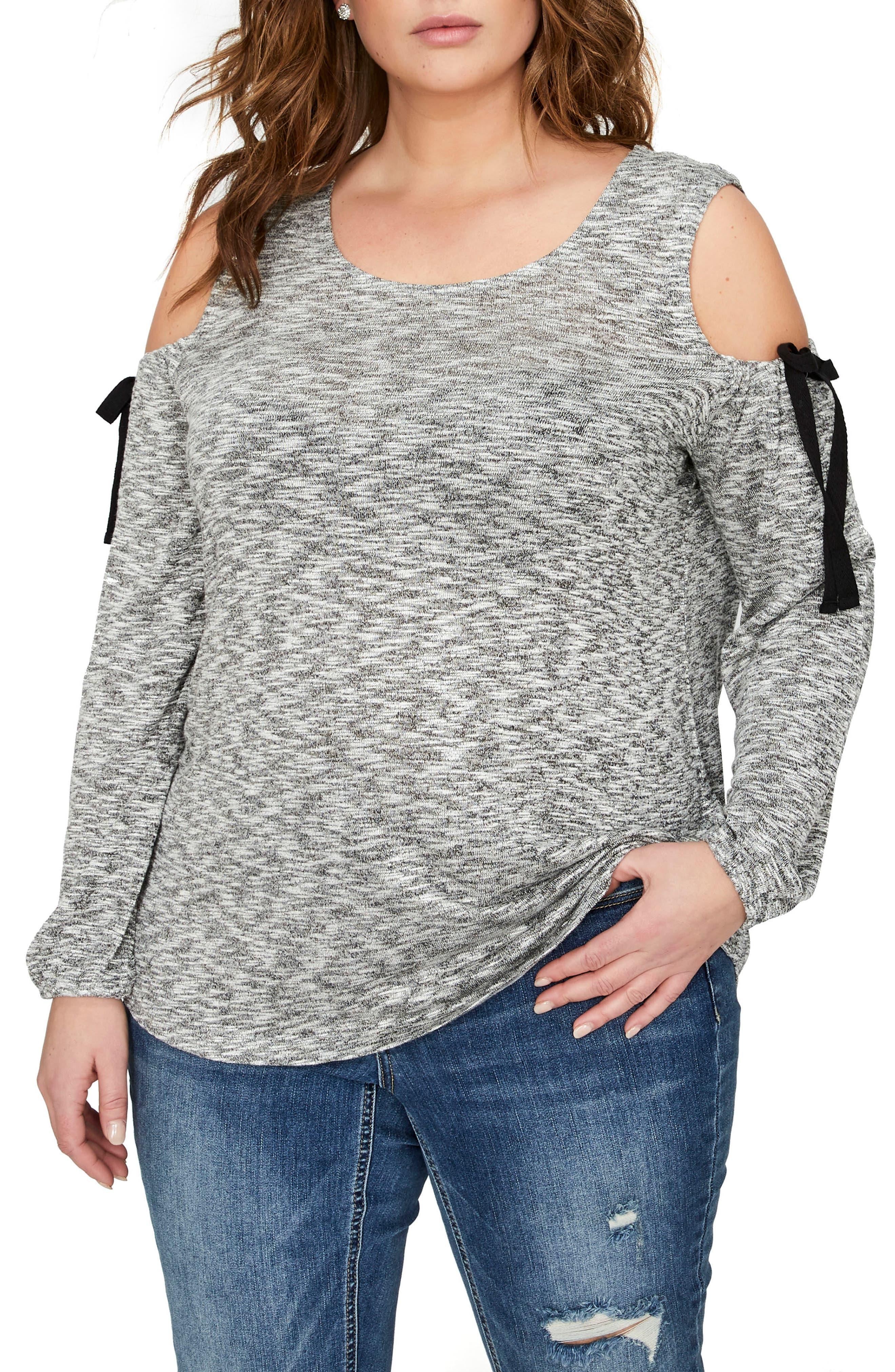 Cold Shoulder Top,                         Main,                         color, Black / Egret Snit