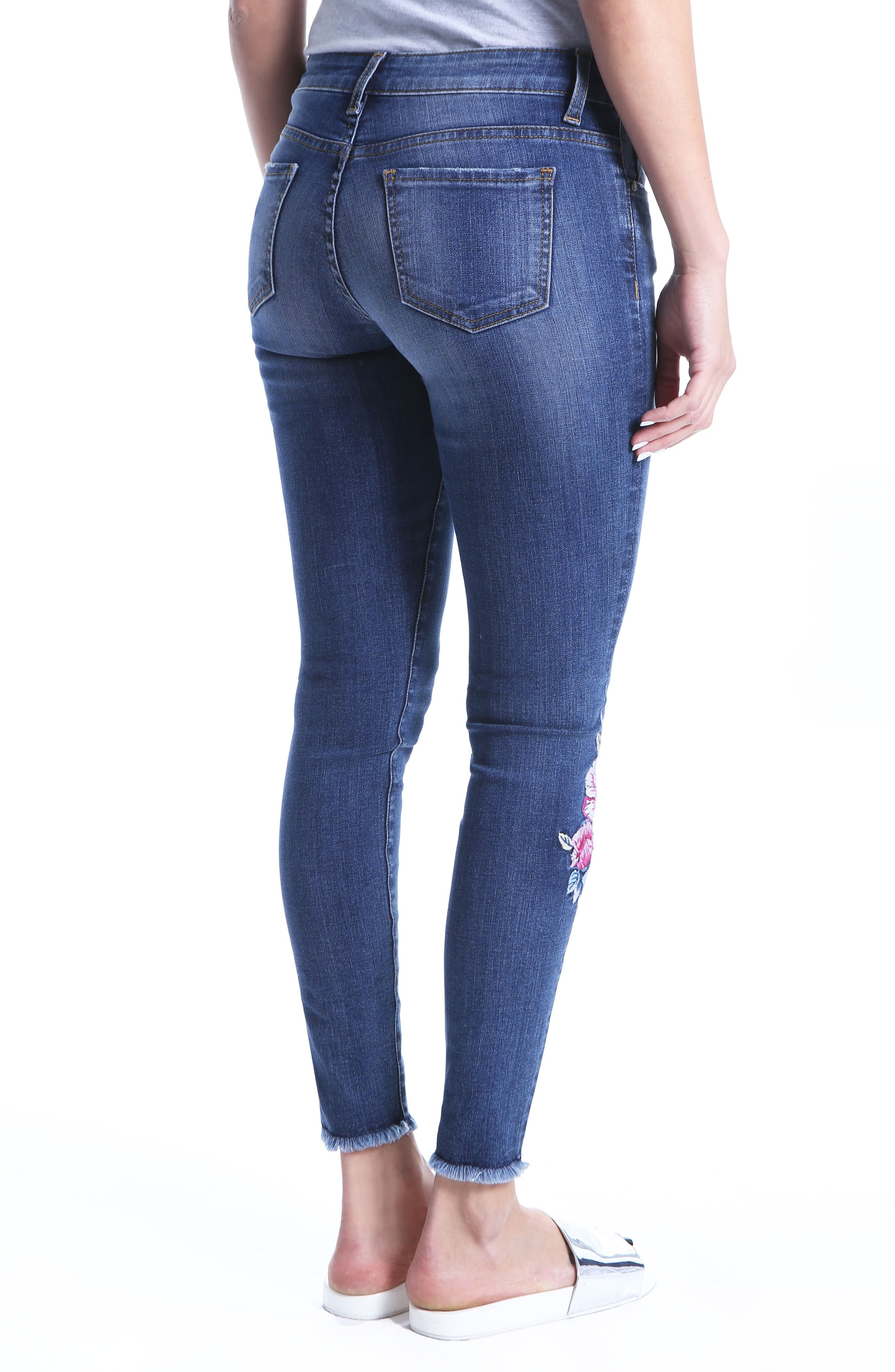 Connie Embroided Frayed Hem Ankle Skinny Jeans,                             Alternate thumbnail 2, color,                             Assigned