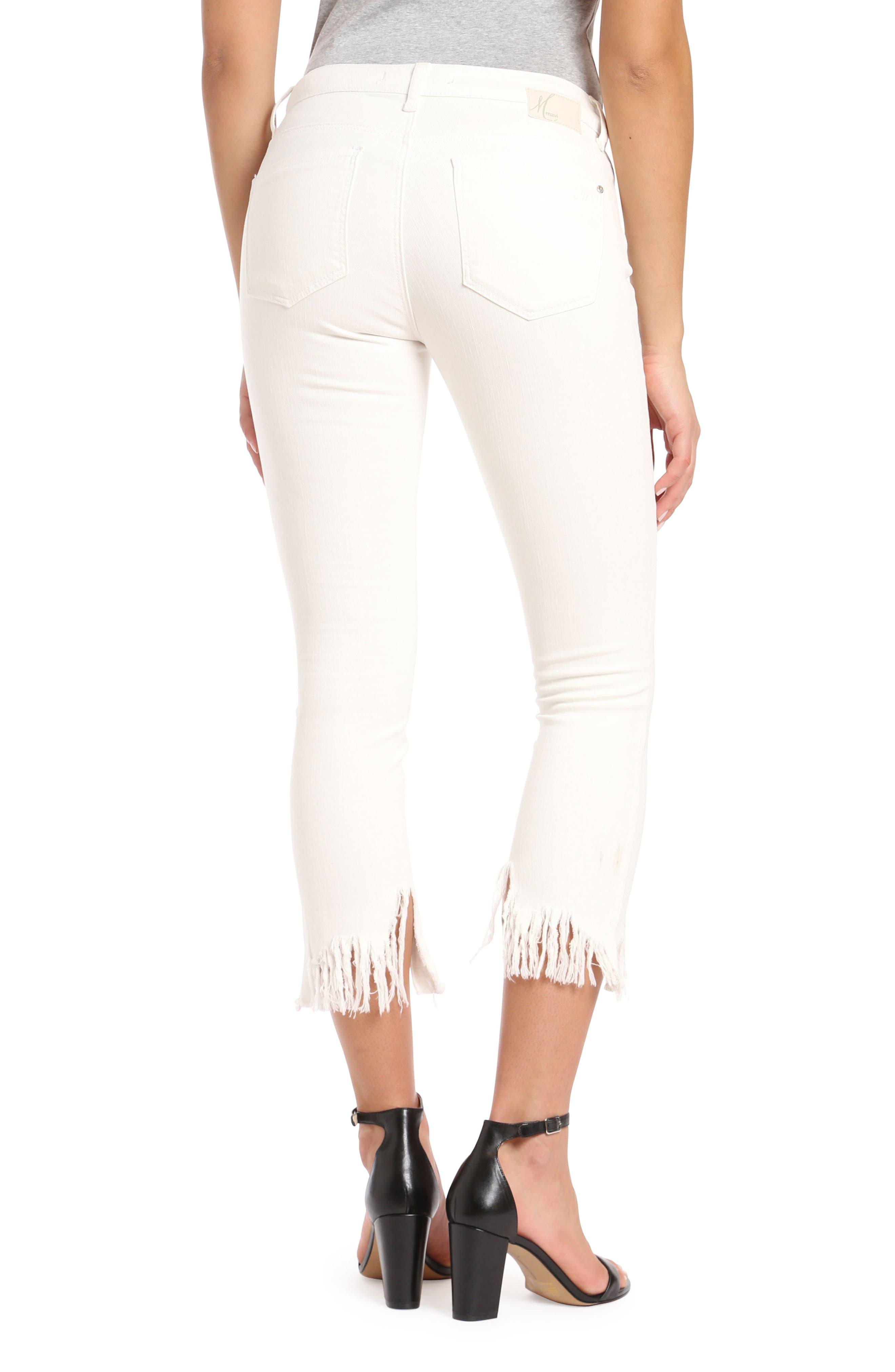Mavi Tess Vintage Fringe Super Skinny Jeans,                             Alternate thumbnail 2, color,                             White Fringe Vintage