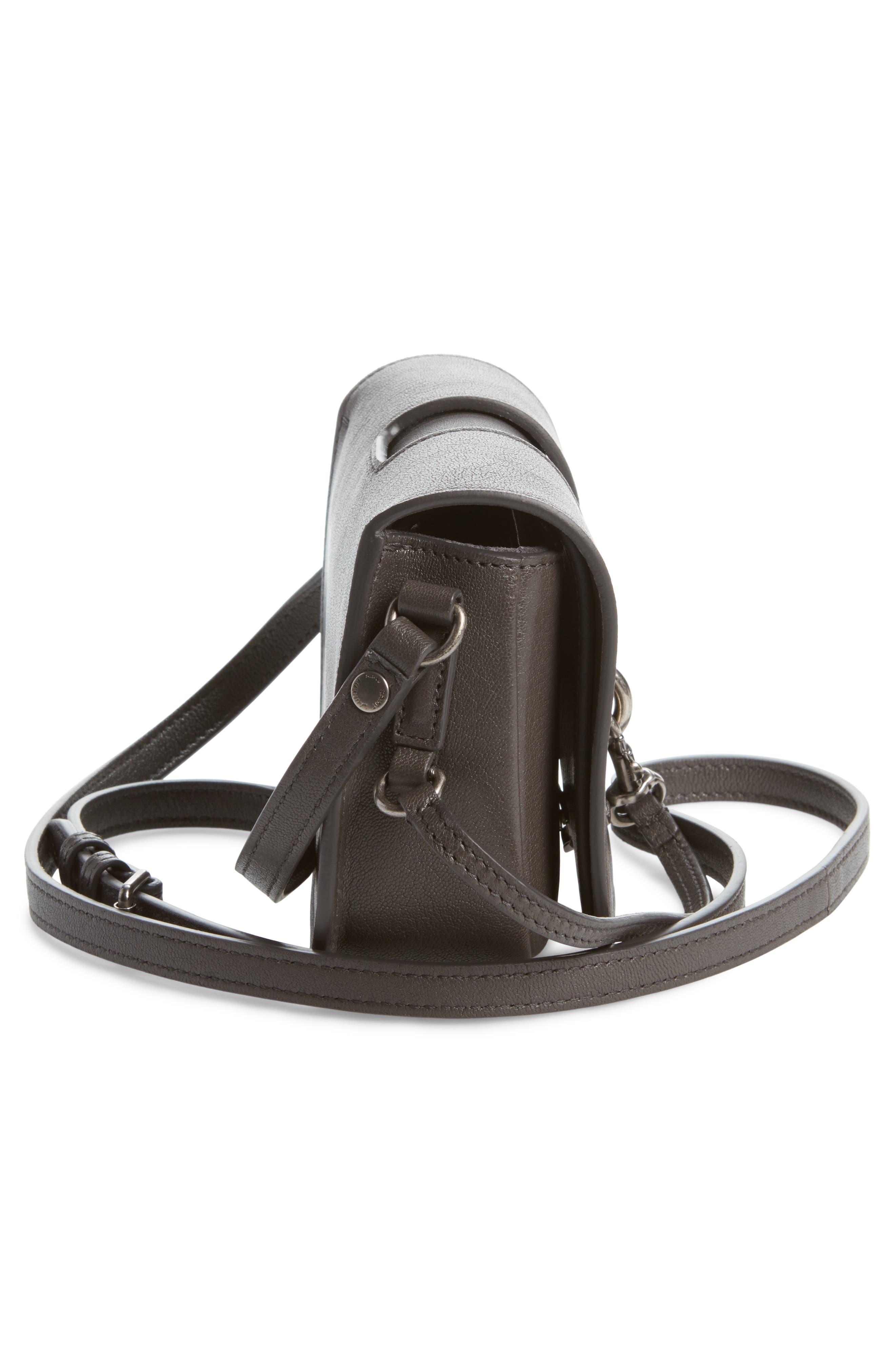 Calfskin Leather Crossbody Bag,                             Alternate thumbnail 5, color,                             Asphalt