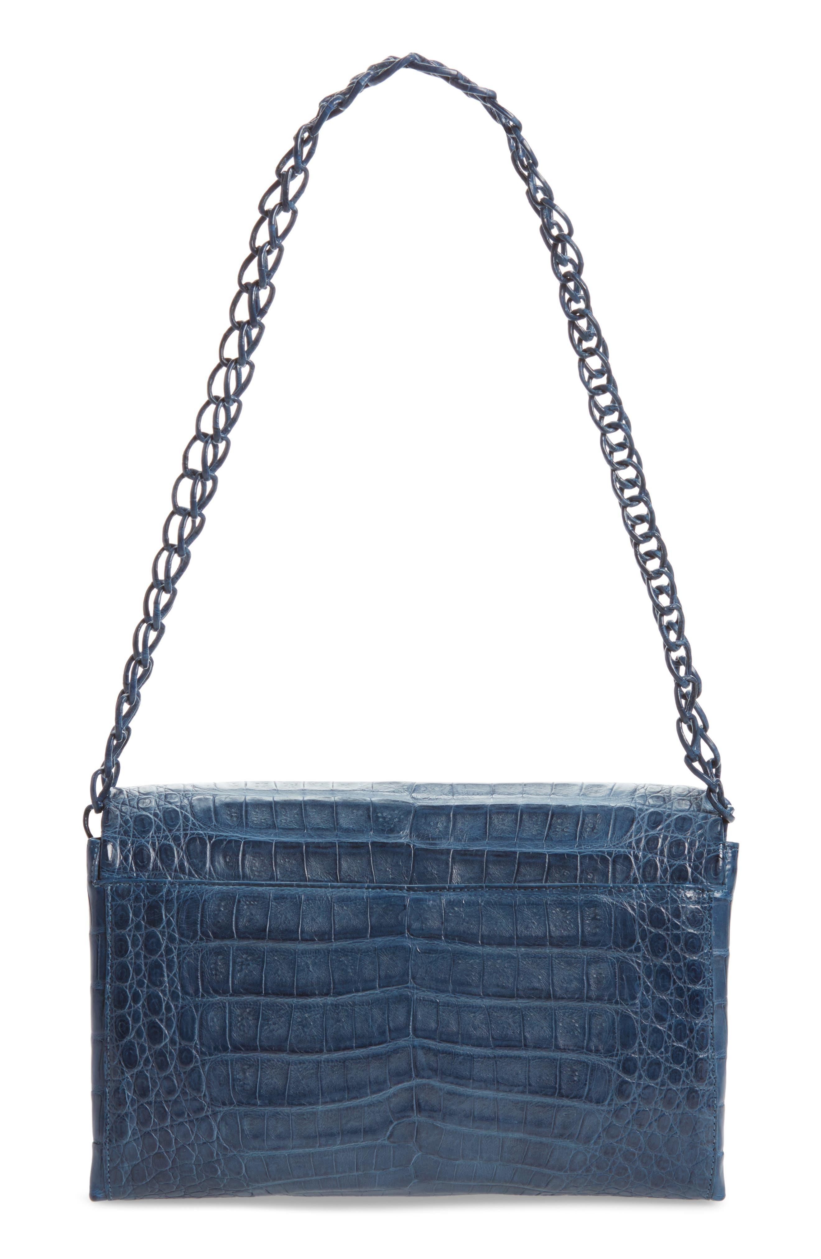 Genuine Crocodile Shoulder Bag,                             Alternate thumbnail 3, color,                             Denim Matte