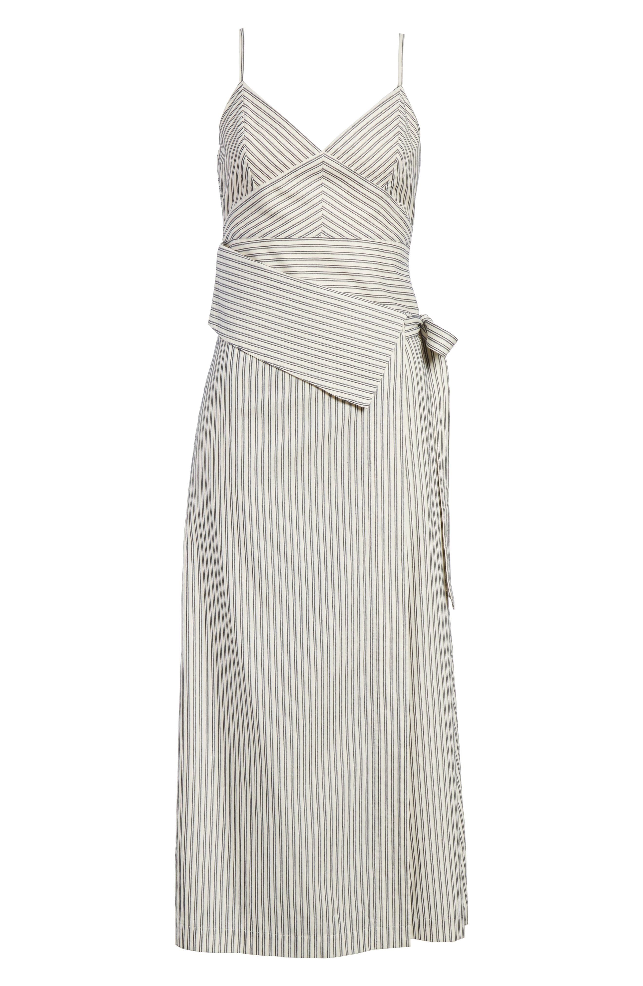 Stripe Wrap Front Midi Dress,                             Alternate thumbnail 8, color,                             Blue/ Ivory Stripe