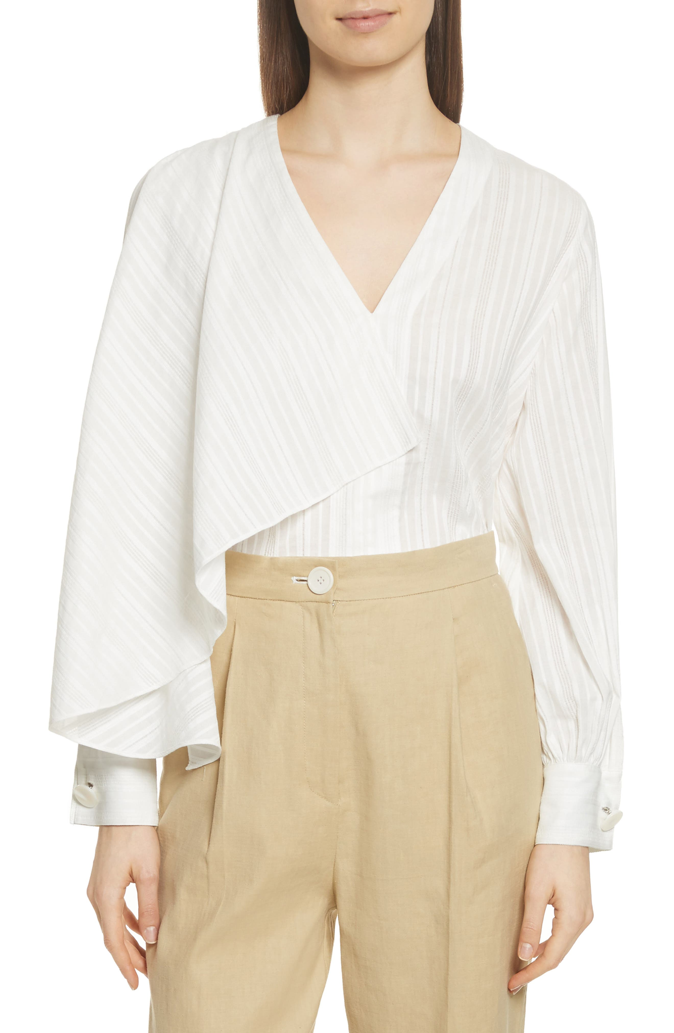 Stripe Drape Front Blouse,                         Main,                         color, Ivory