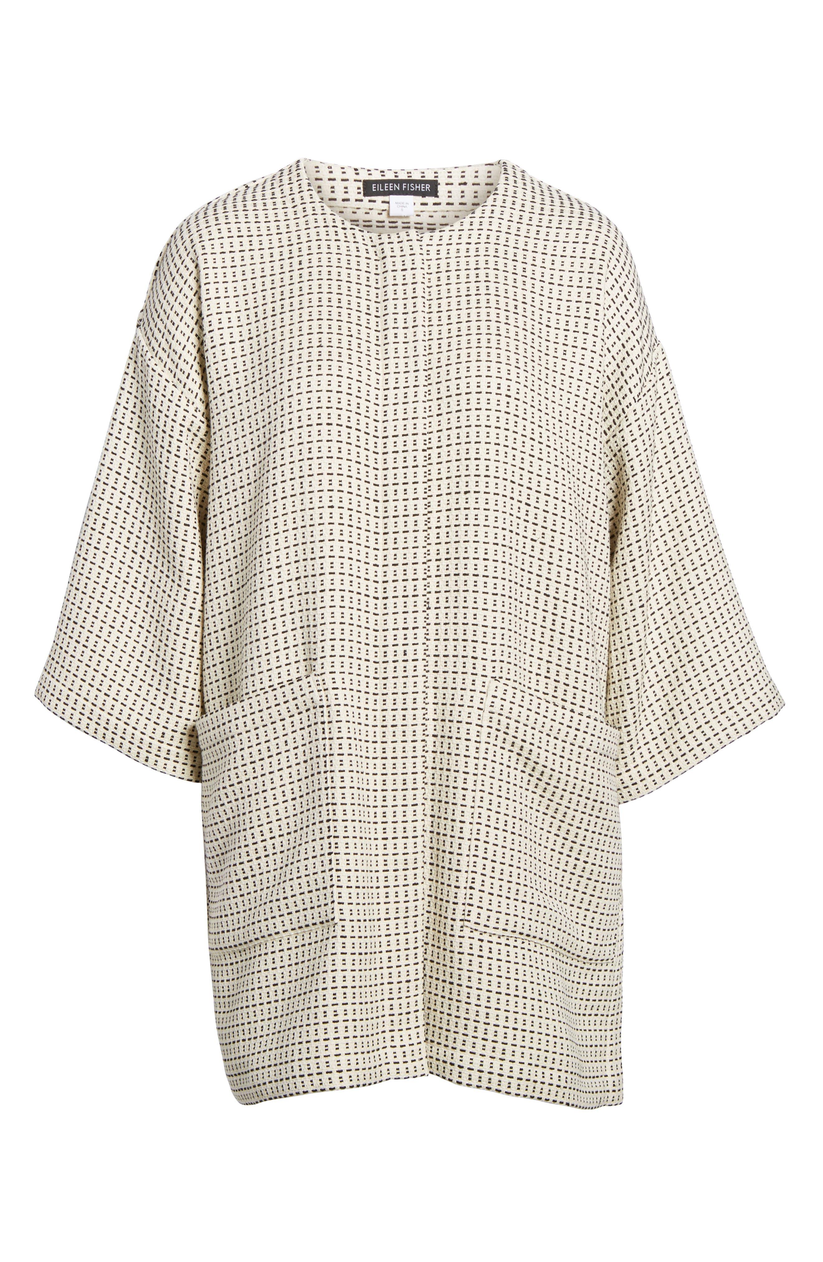 Round Neck Kimono Jacket,                             Alternate thumbnail 6, color,                             Ecru