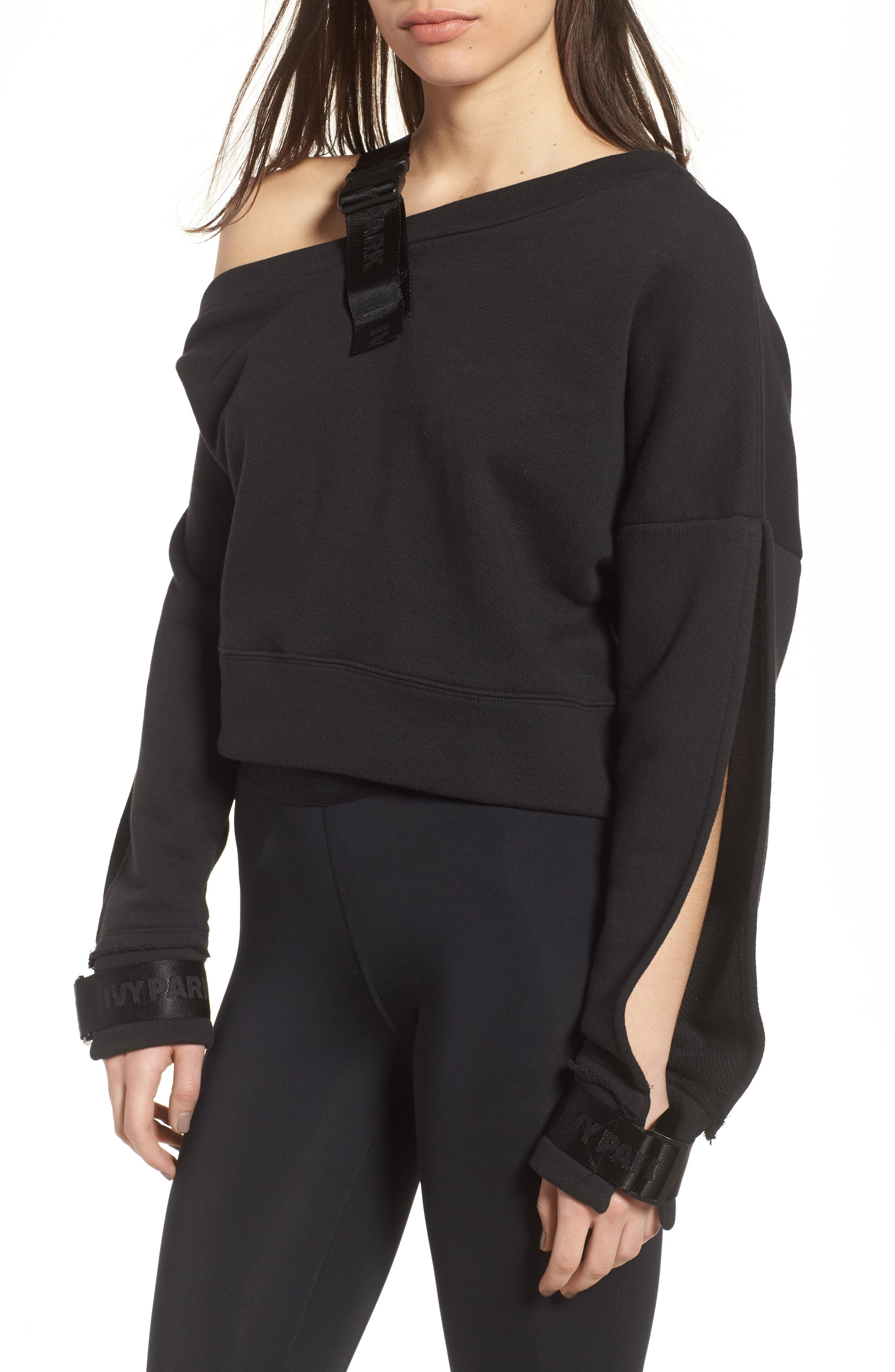 Harness Strap Sweatshirt,                         Main,                         color, Black