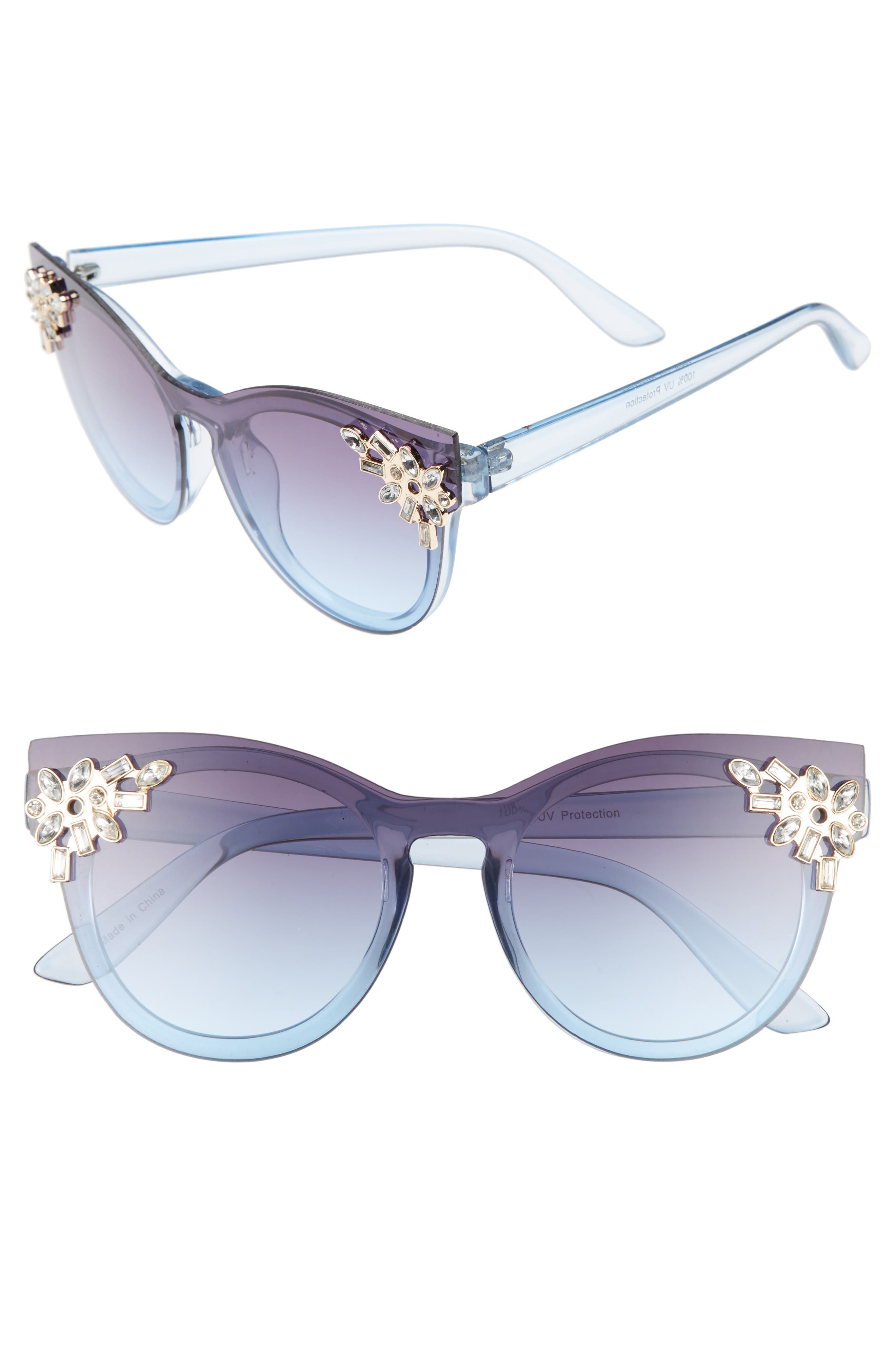 Leith 52mm Crystal Embellished Round Sunglasses