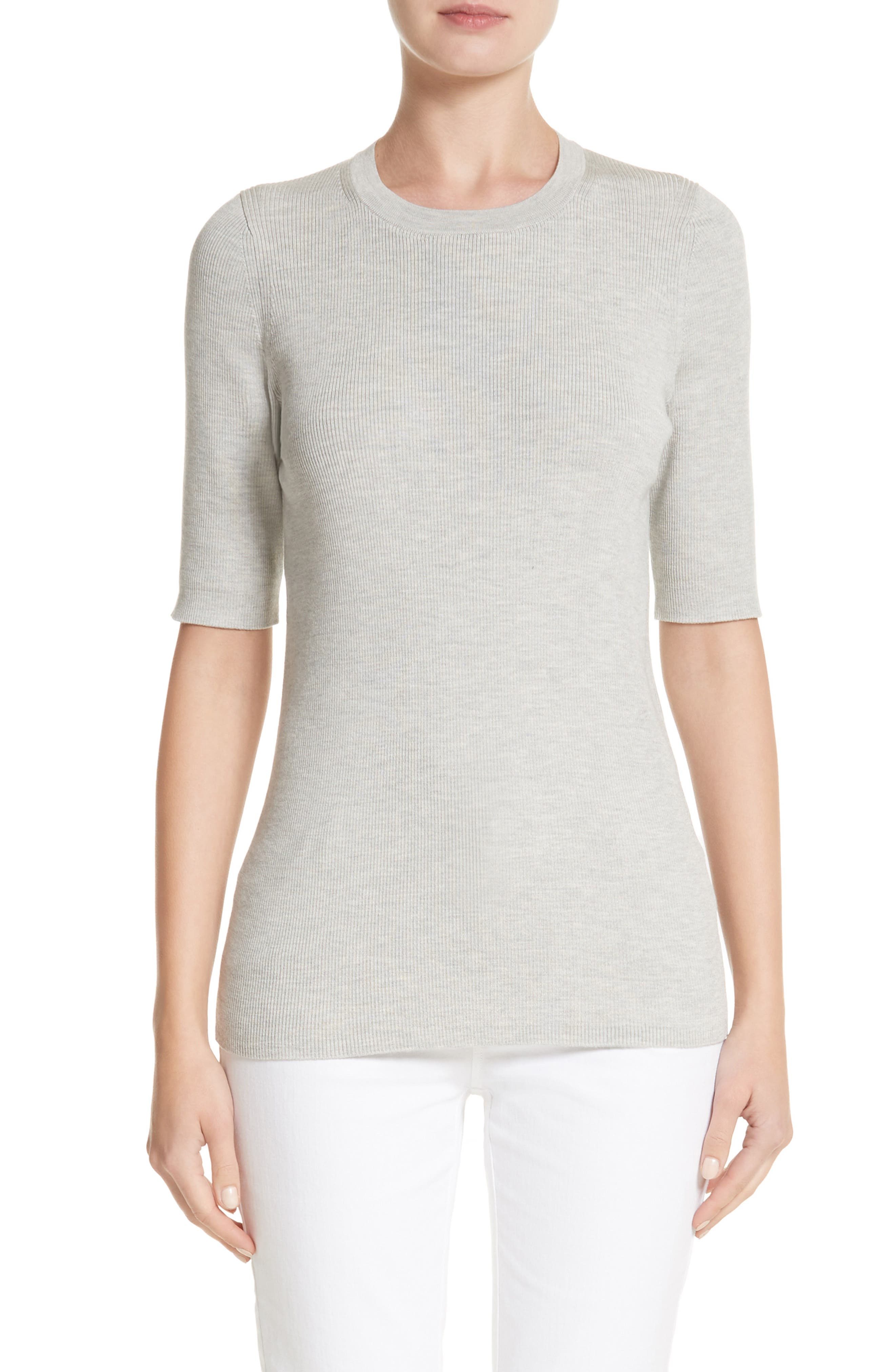 Rib Knit Silk Blend Sweater,                         Main,                         color, Pebble Melange